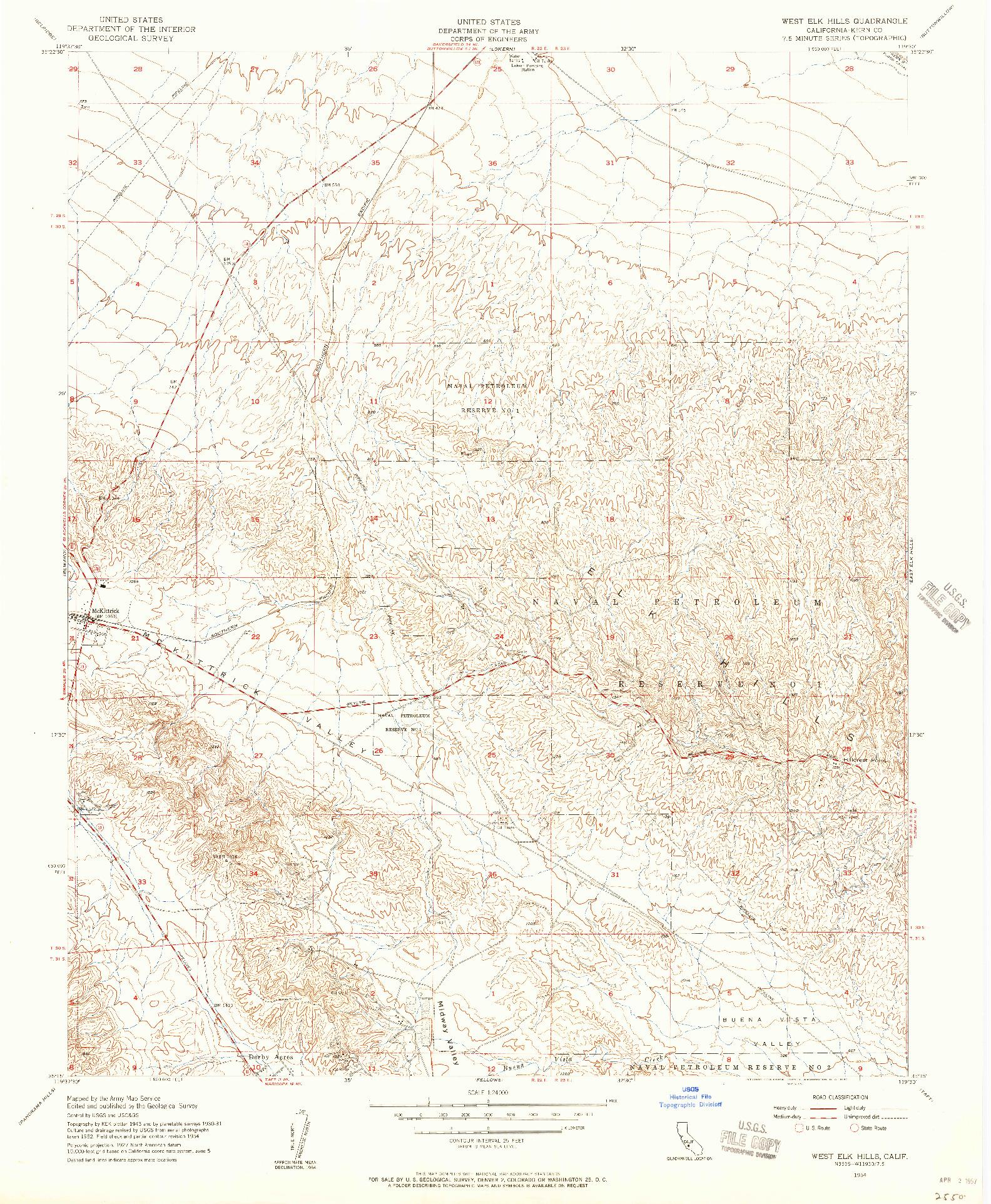 USGS 1:24000-SCALE QUADRANGLE FOR WEST ELK HILLS, CA 1954