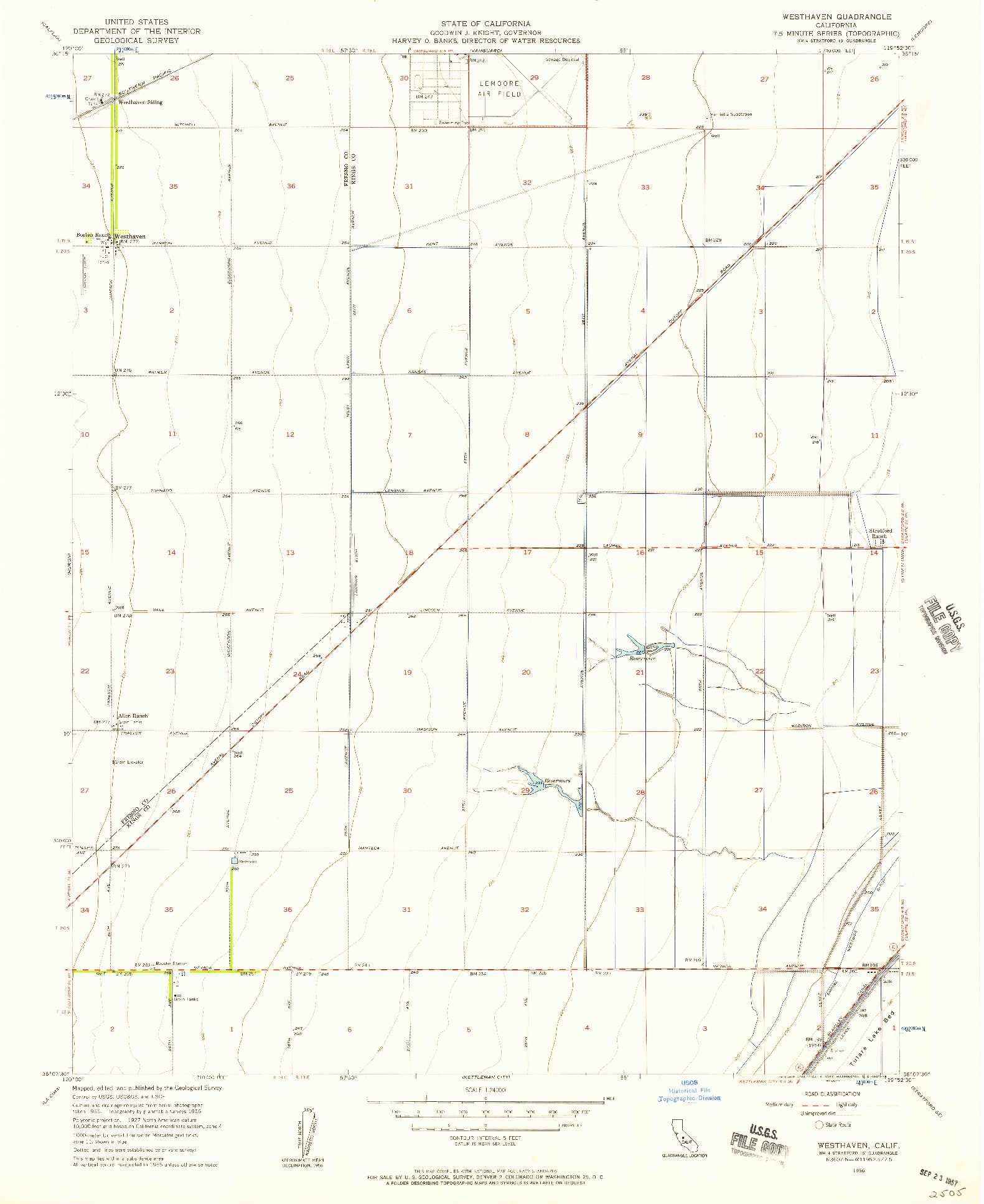 USGS 1:24000-SCALE QUADRANGLE FOR WESTHAVEN, CA 1956