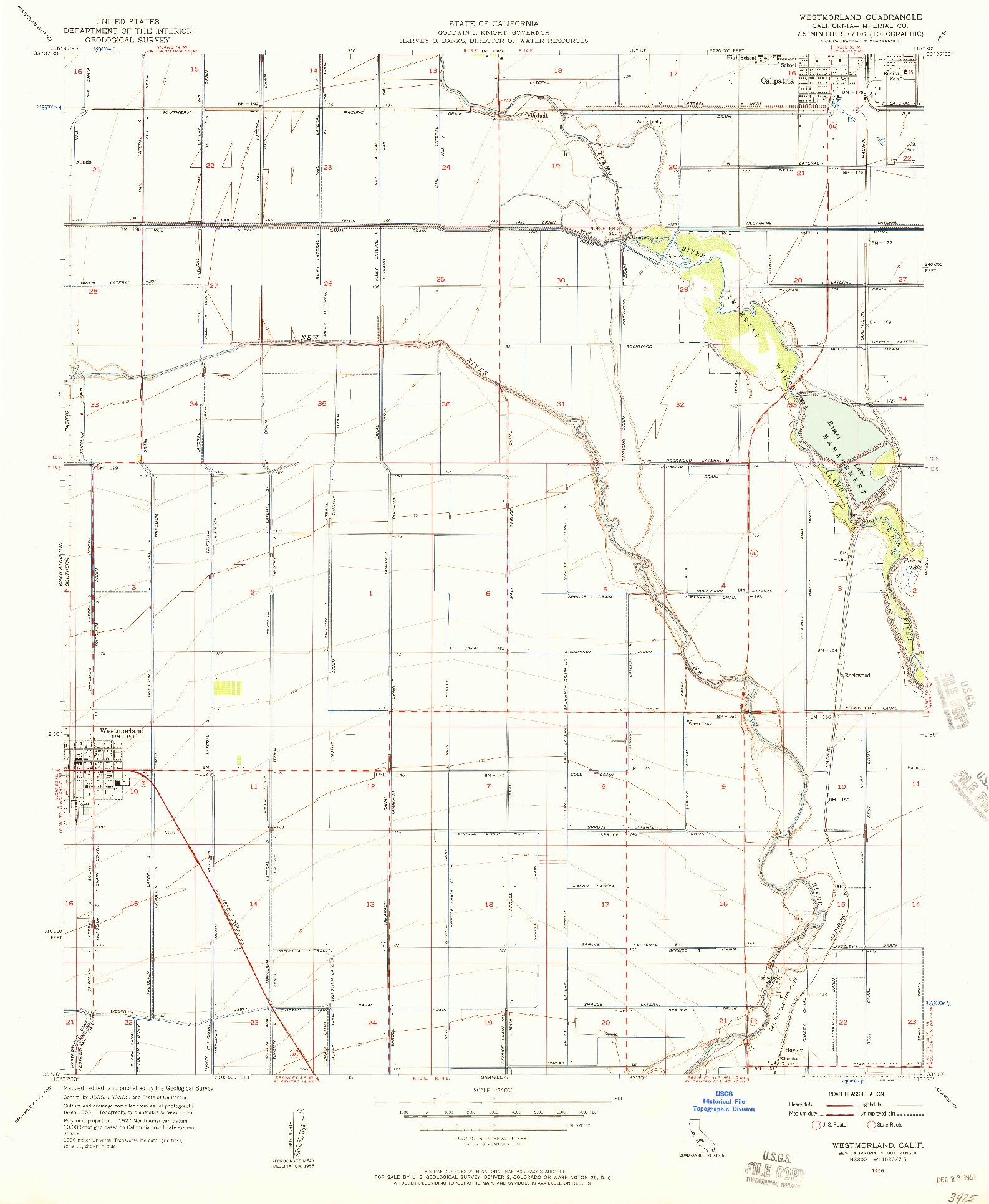 USGS 1:24000-SCALE QUADRANGLE FOR WESTMORLAND, CA 1956