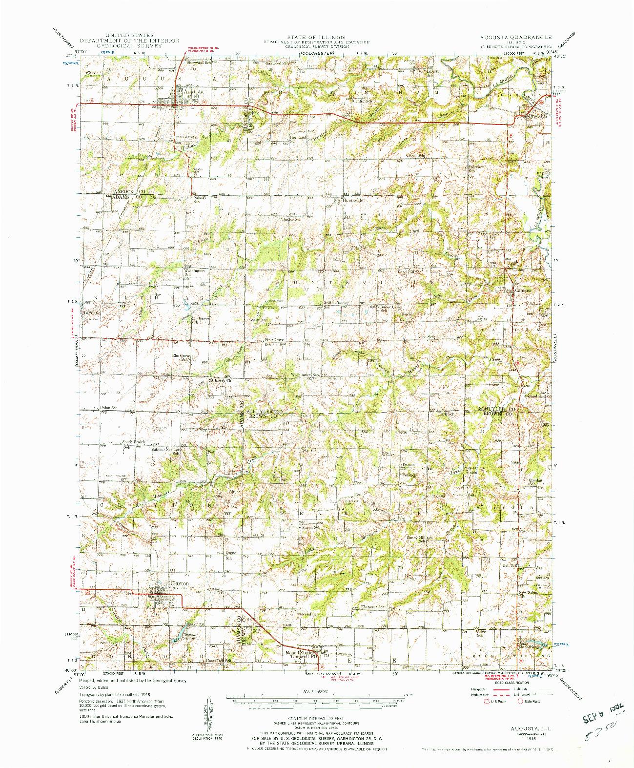 USGS 1:62500-SCALE QUADRANGLE FOR AUGUSTA, IL 1946
