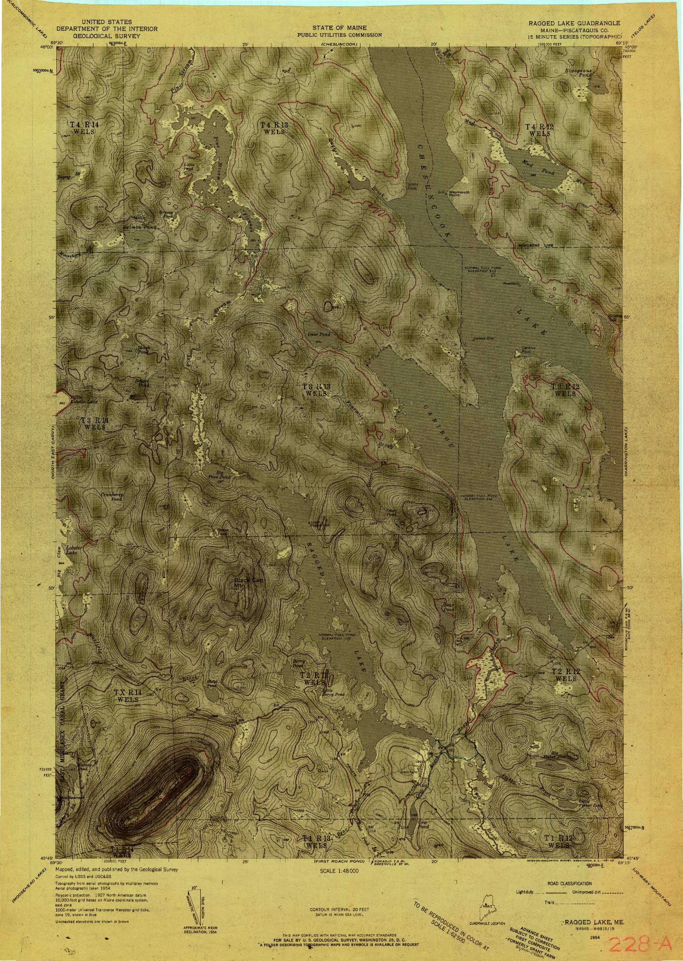 USGS 1:48000-SCALE QUADRANGLE FOR RAGGED LAKE, ME 1954