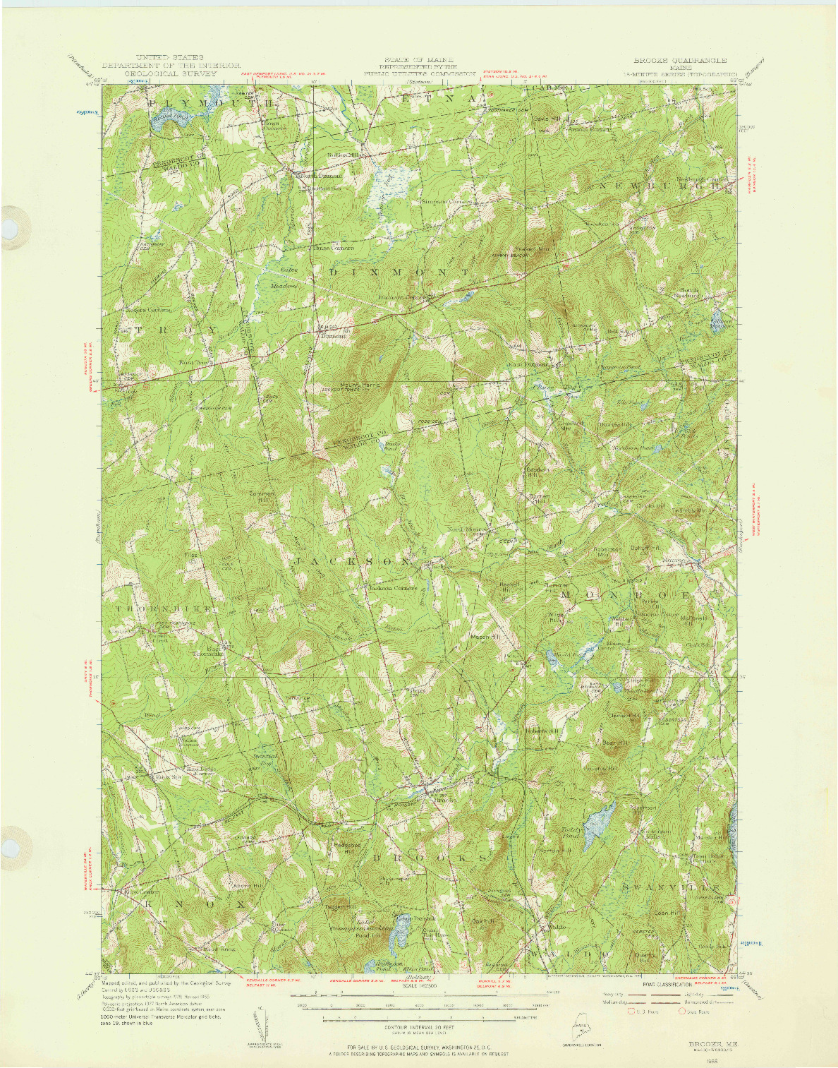 USGS 1:62500-SCALE QUADRANGLE FOR BROOKS, ME 1955
