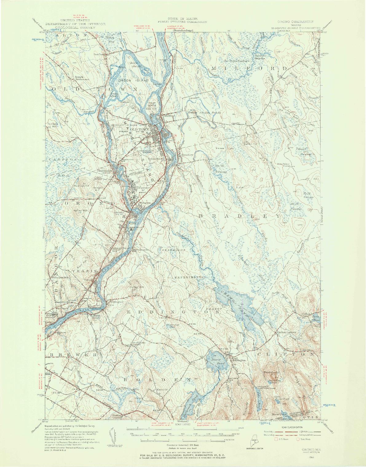 USGS 1:62500-SCALE QUADRANGLE FOR ORONO, ME 1955