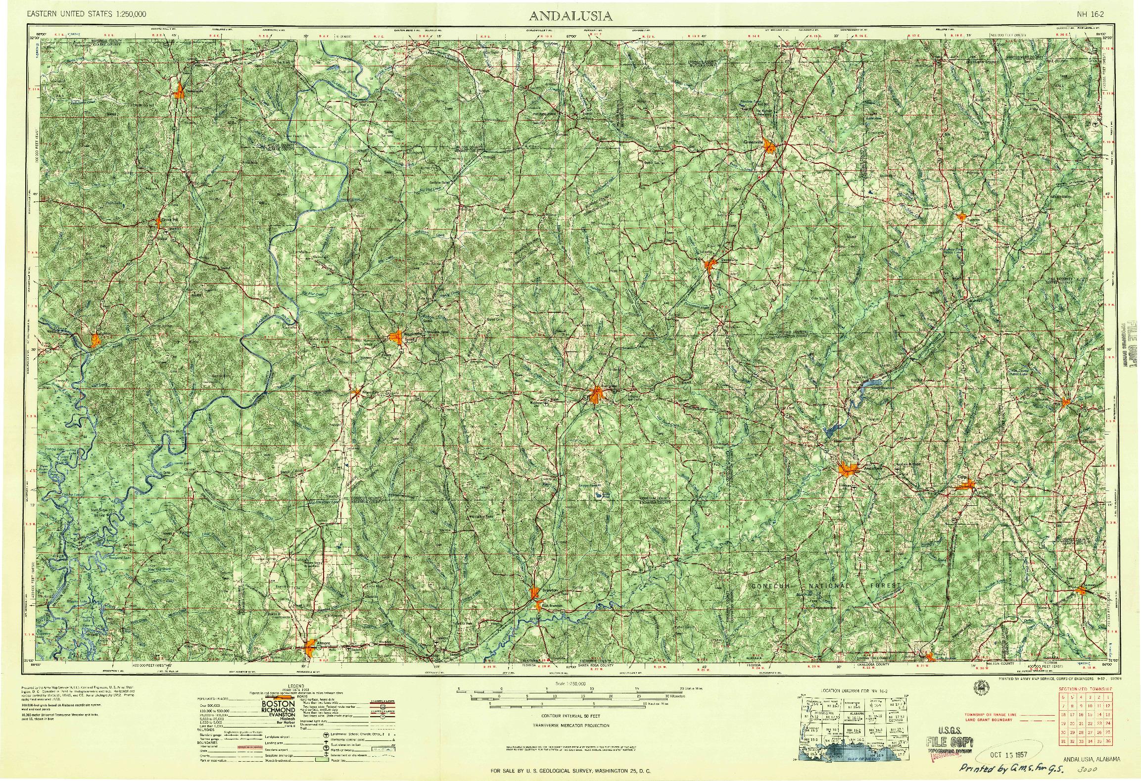 USGS 1:250000-SCALE QUADRANGLE FOR ANDALUSIA, AL 1957