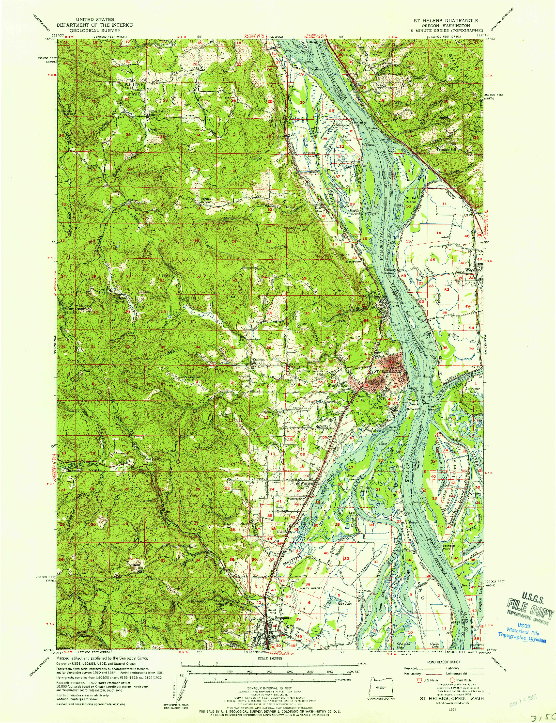 USGS 1:62500-SCALE QUADRANGLE FOR ST HELENS, OR 1954