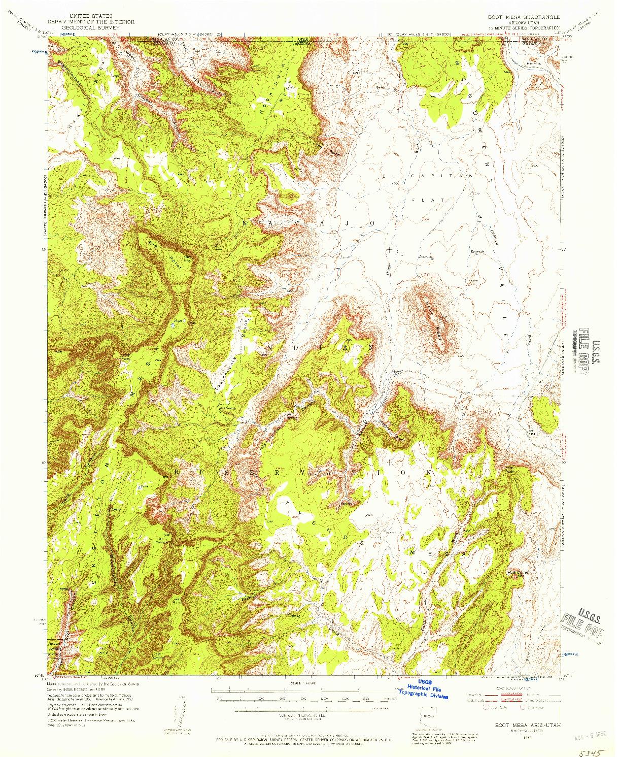 USGS 1:62500-SCALE QUADRANGLE FOR BOOT MESA, AZ 1952