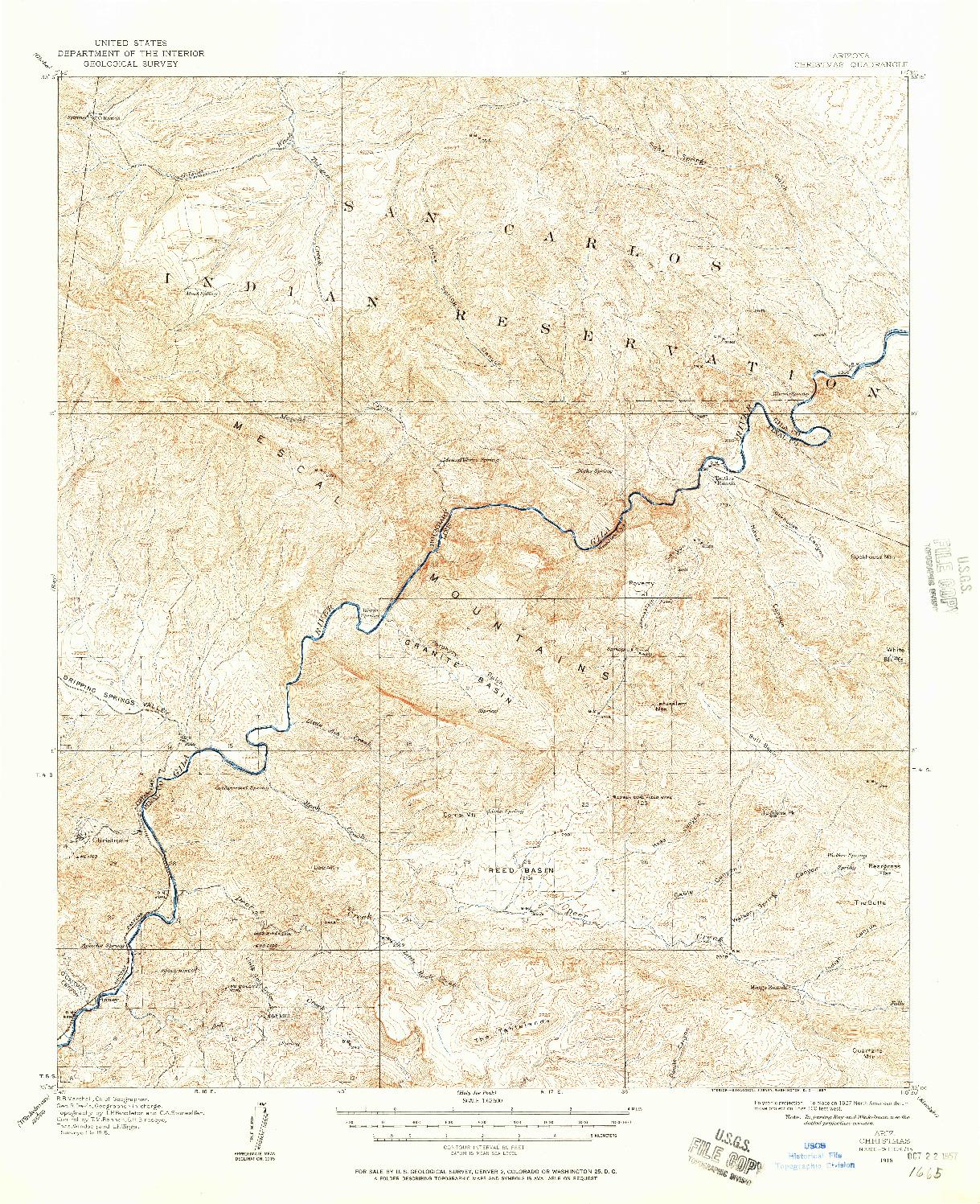 USGS 1:62500-SCALE QUADRANGLE FOR CHRISTMAS, AZ 1915