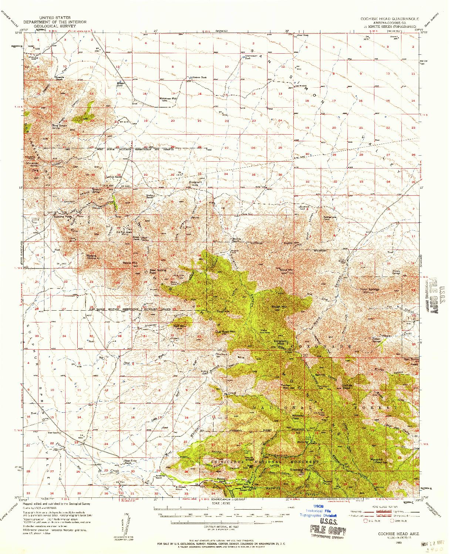 USGS 1:62500-SCALE QUADRANGLE FOR COCHISE HEAD, AZ 1950