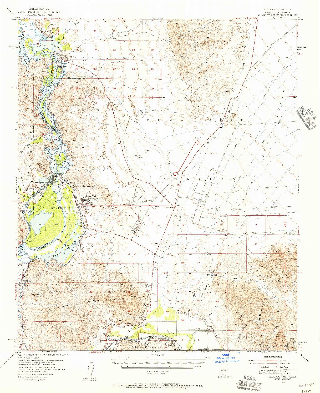 USGS 1:62500-SCALE QUADRANGLE FOR LAGUNA, AZ 1955