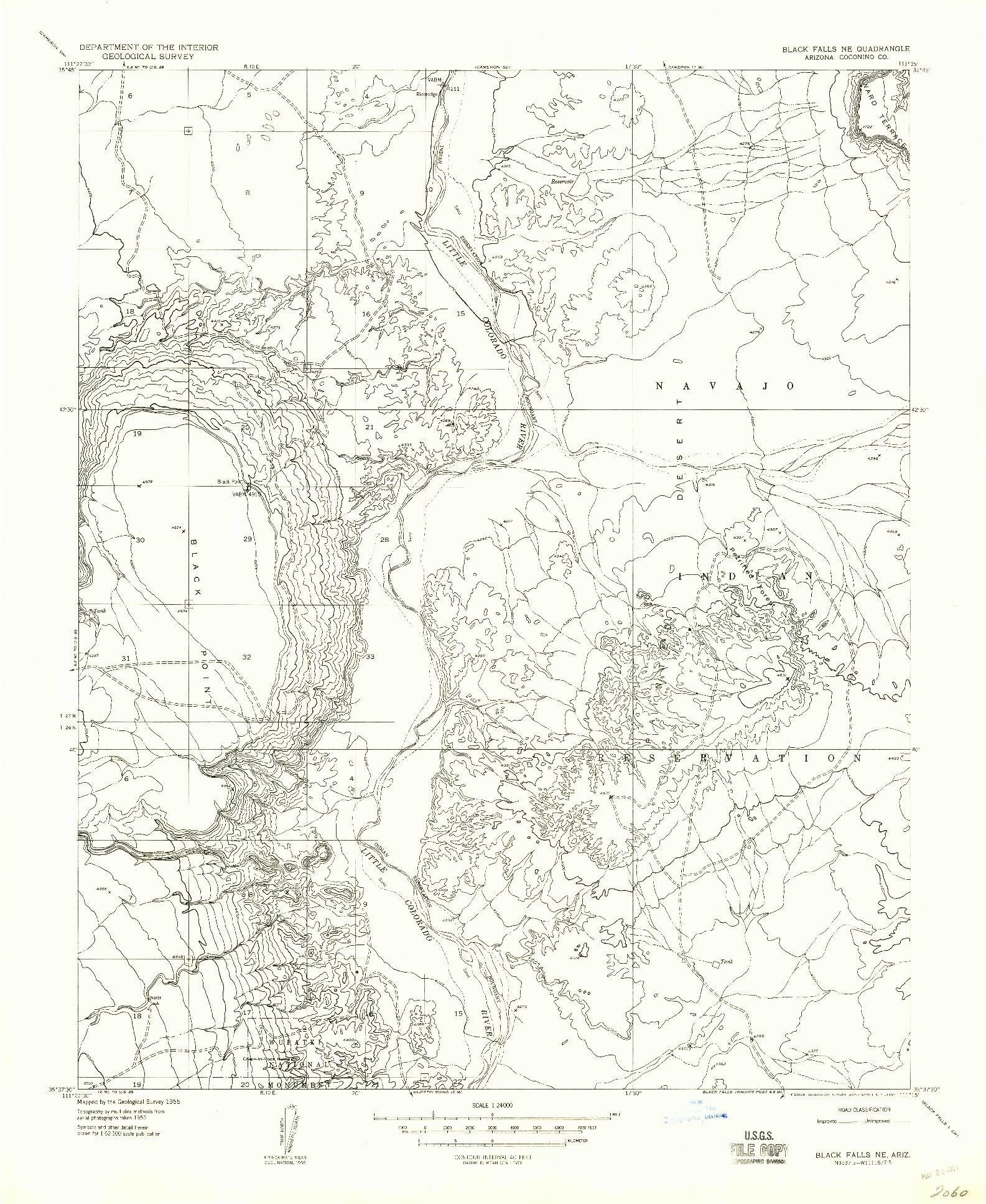 USGS 1:24000-SCALE QUADRANGLE FOR BLACK FALLS NE, AZ 1955