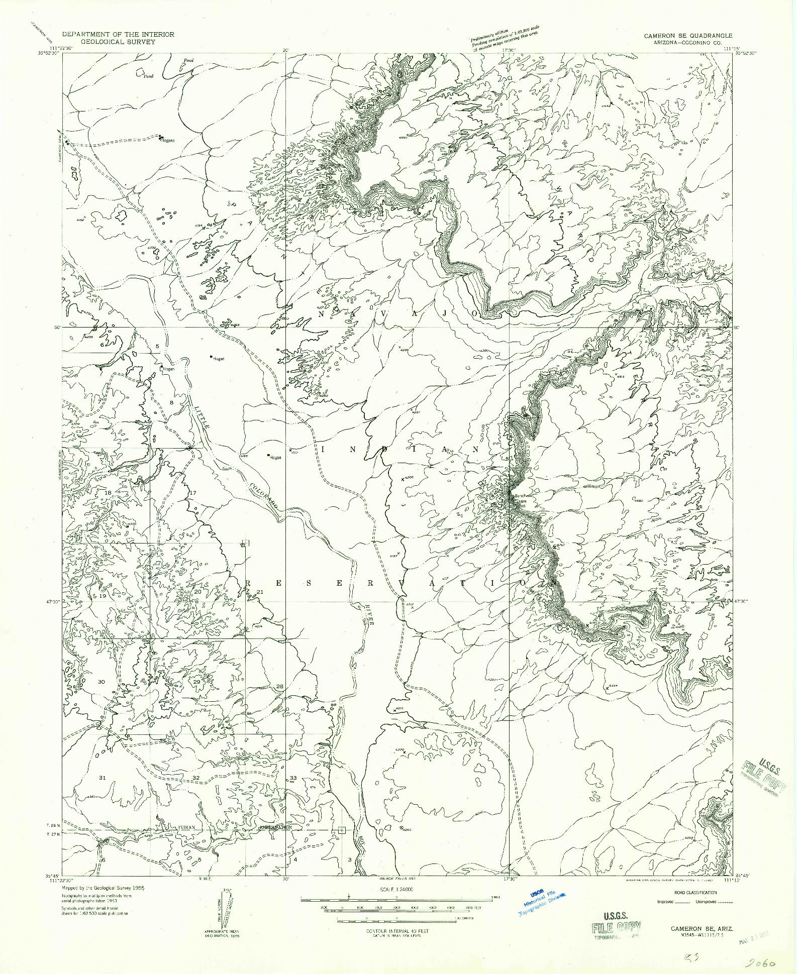 USGS 1:24000-SCALE QUADRANGLE FOR CAMERON SE, AZ 1955