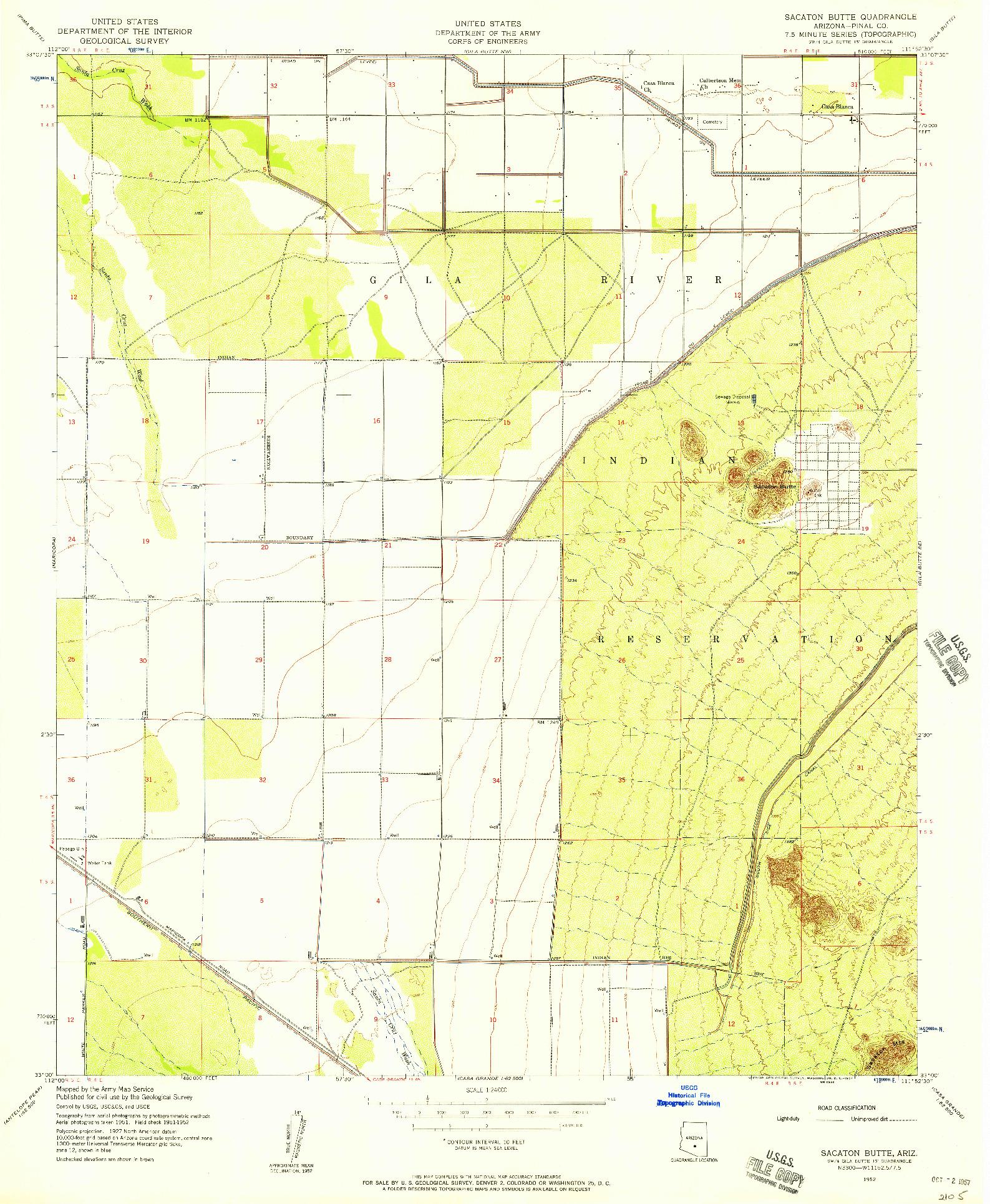 USGS 1:24000-SCALE QUADRANGLE FOR SACATON BUTTE, AZ 1952