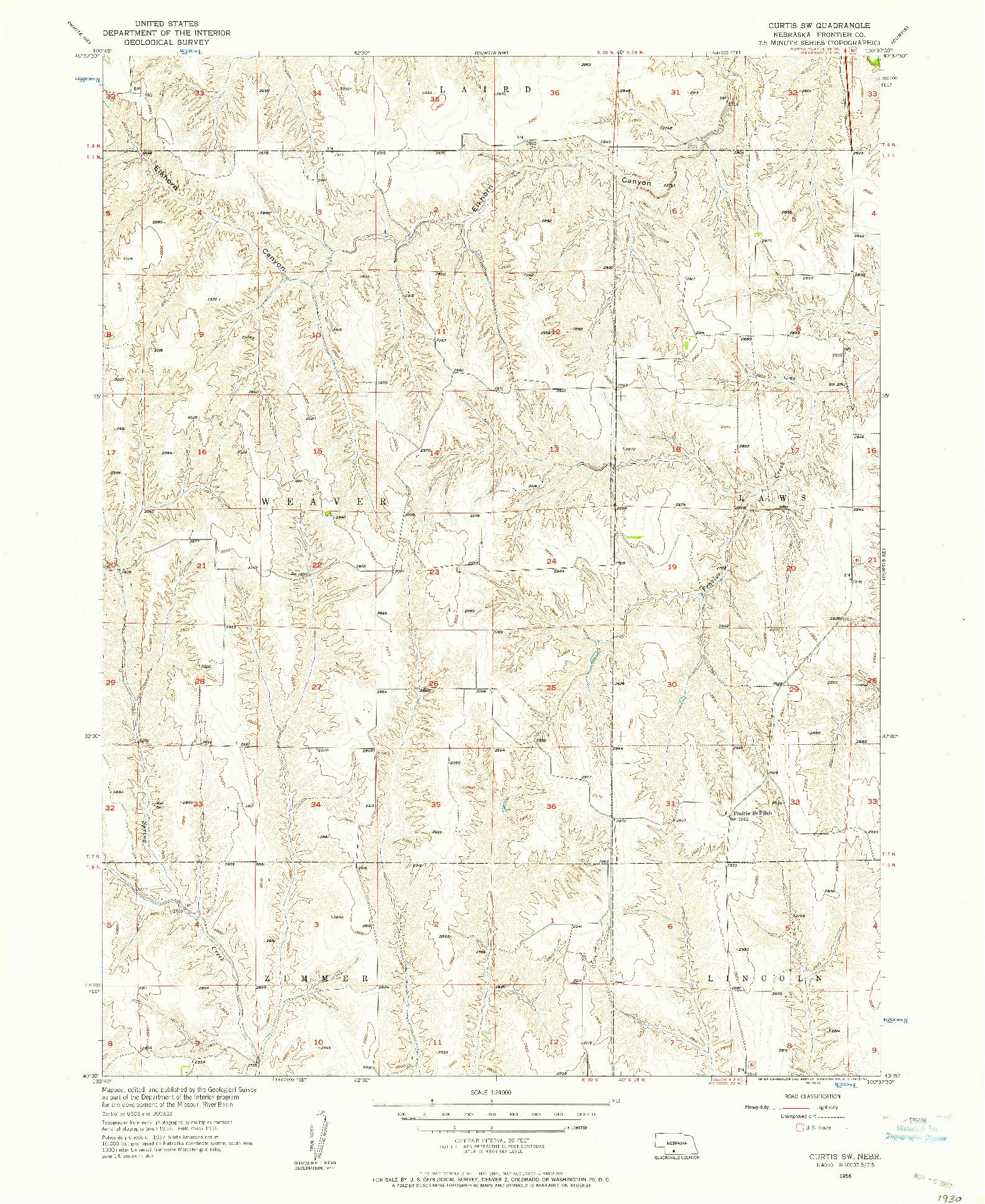USGS 1:24000-SCALE QUADRANGLE FOR CURTIS SW, NE 1956