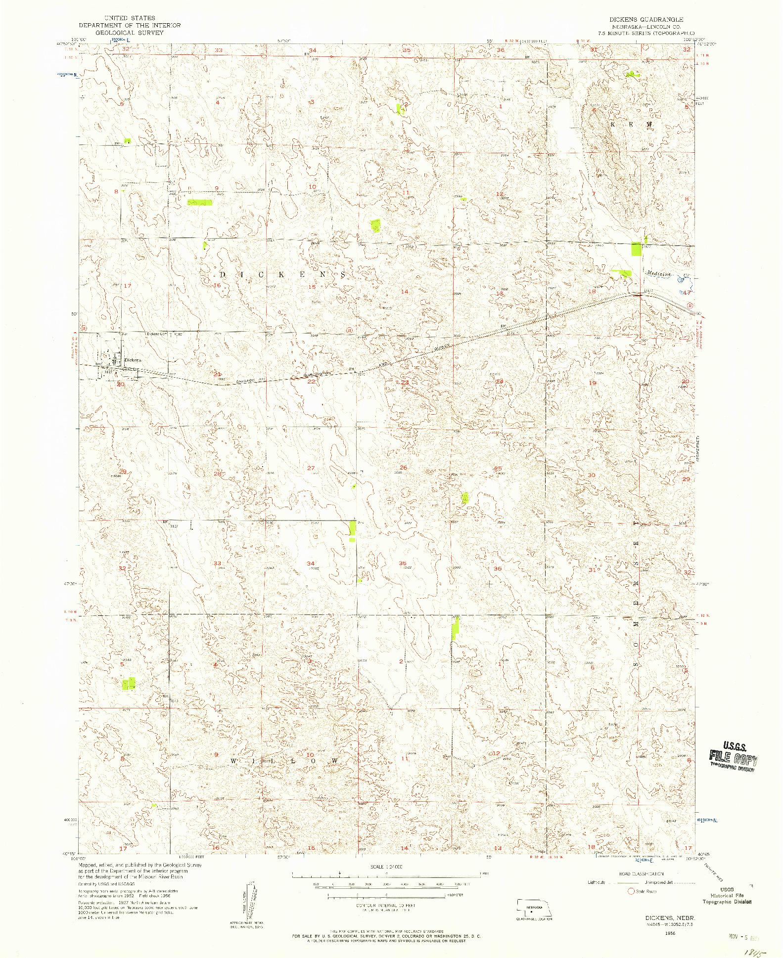 USGS 1:24000-SCALE QUADRANGLE FOR DICKENS, NE 1956
