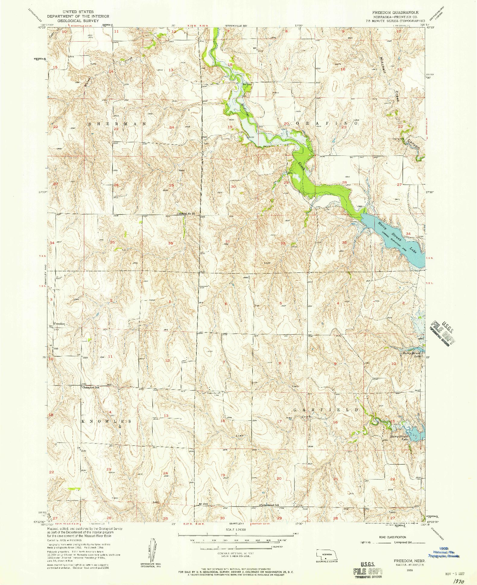USGS 1:24000-SCALE QUADRANGLE FOR FREEDOM, NE 1956