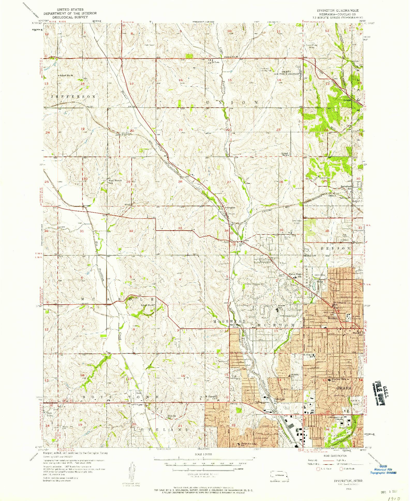 USGS 1:24000-SCALE QUADRANGLE FOR IRVINGTON, NE 1956
