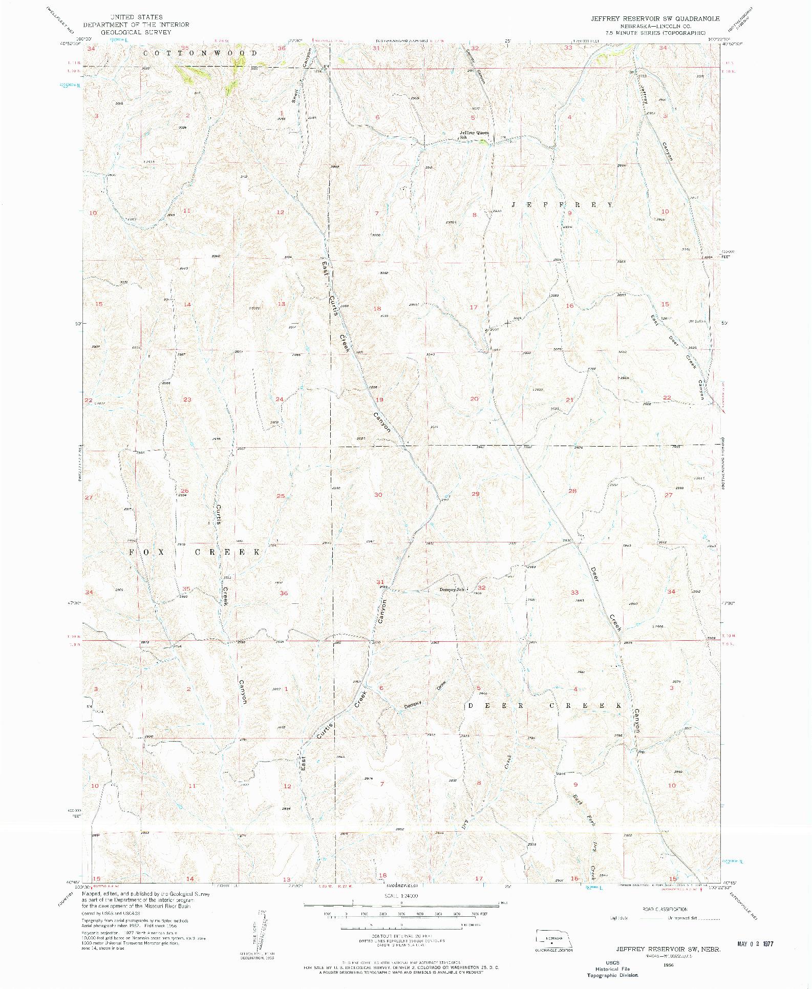 USGS 1:24000-SCALE QUADRANGLE FOR JEFFREY RESERVOIR SW, NE 1956