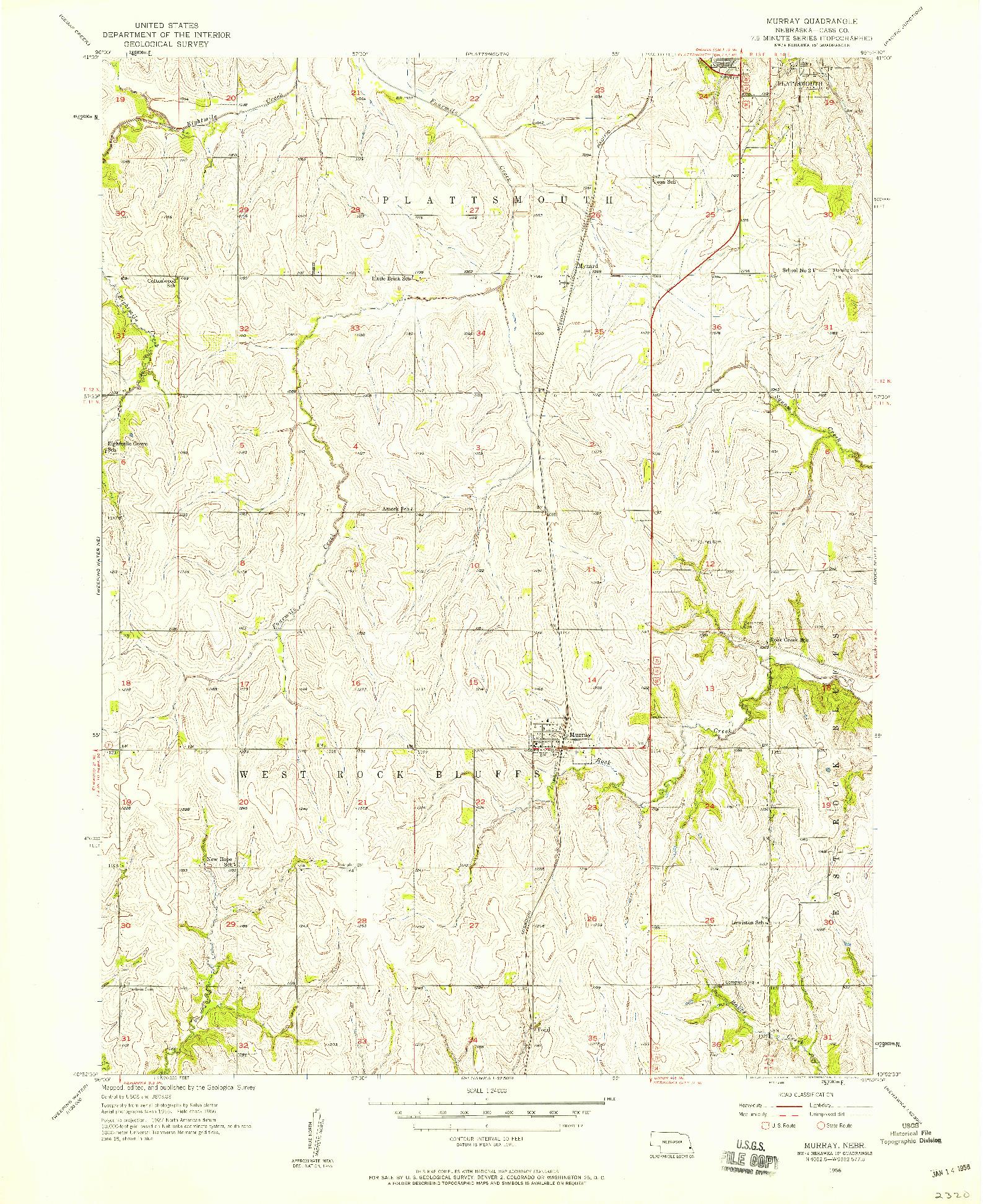 USGS 1:24000-SCALE QUADRANGLE FOR MURRAY, NE 1956