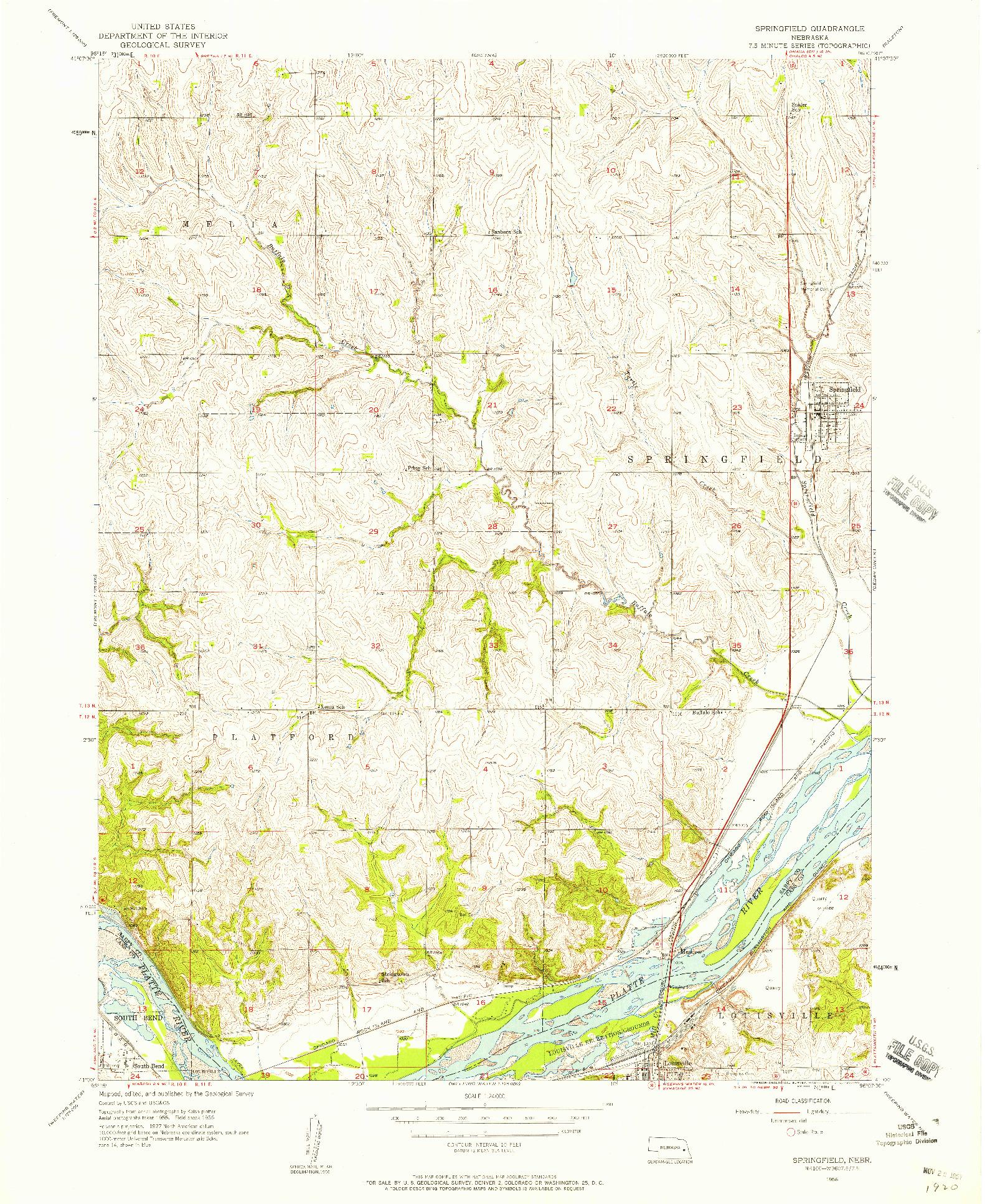 USGS 1:24000-SCALE QUADRANGLE FOR SPRINGFIELD, NE 1956