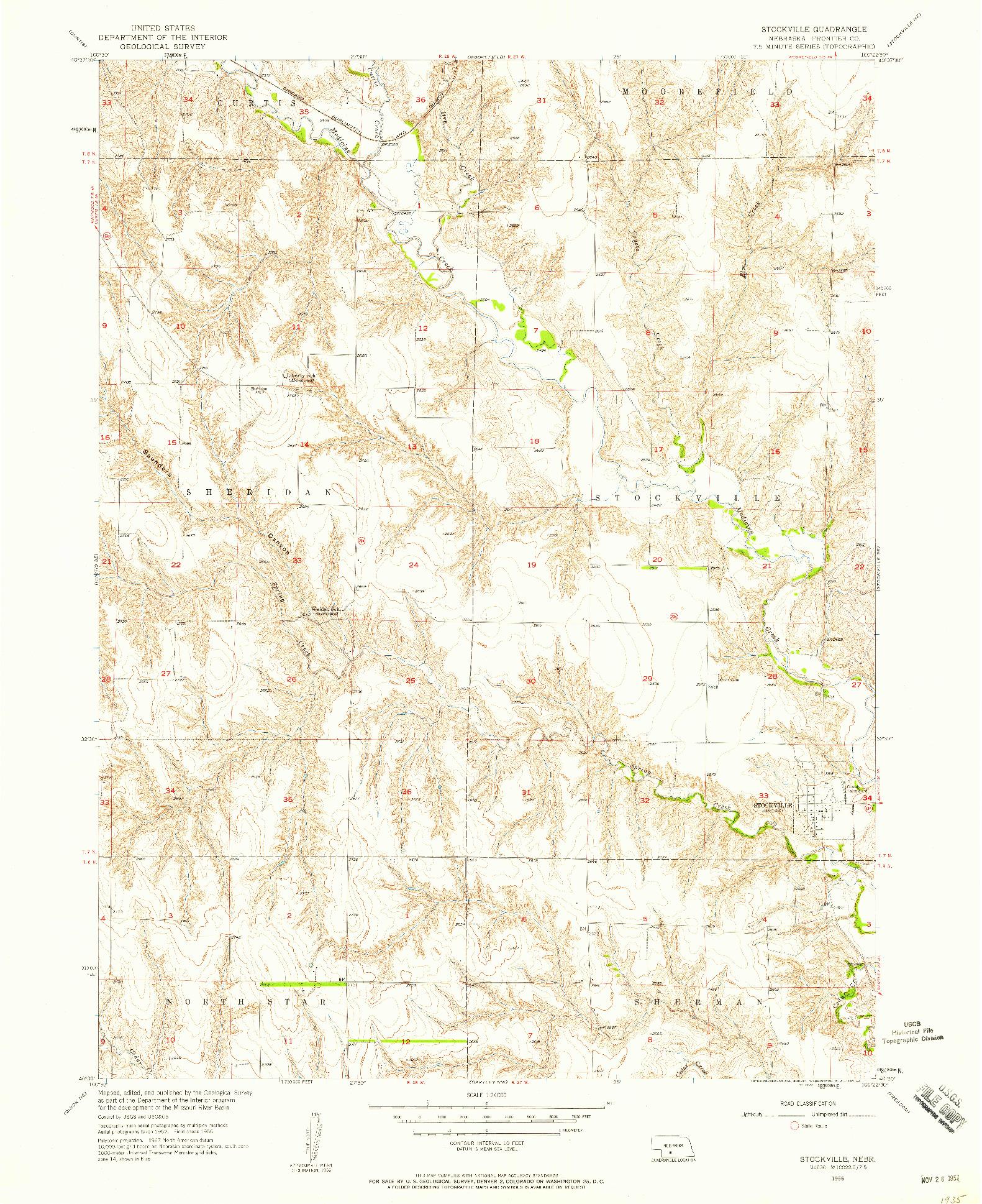 USGS 1:24000-SCALE QUADRANGLE FOR STOCKVILLE, NE 1956