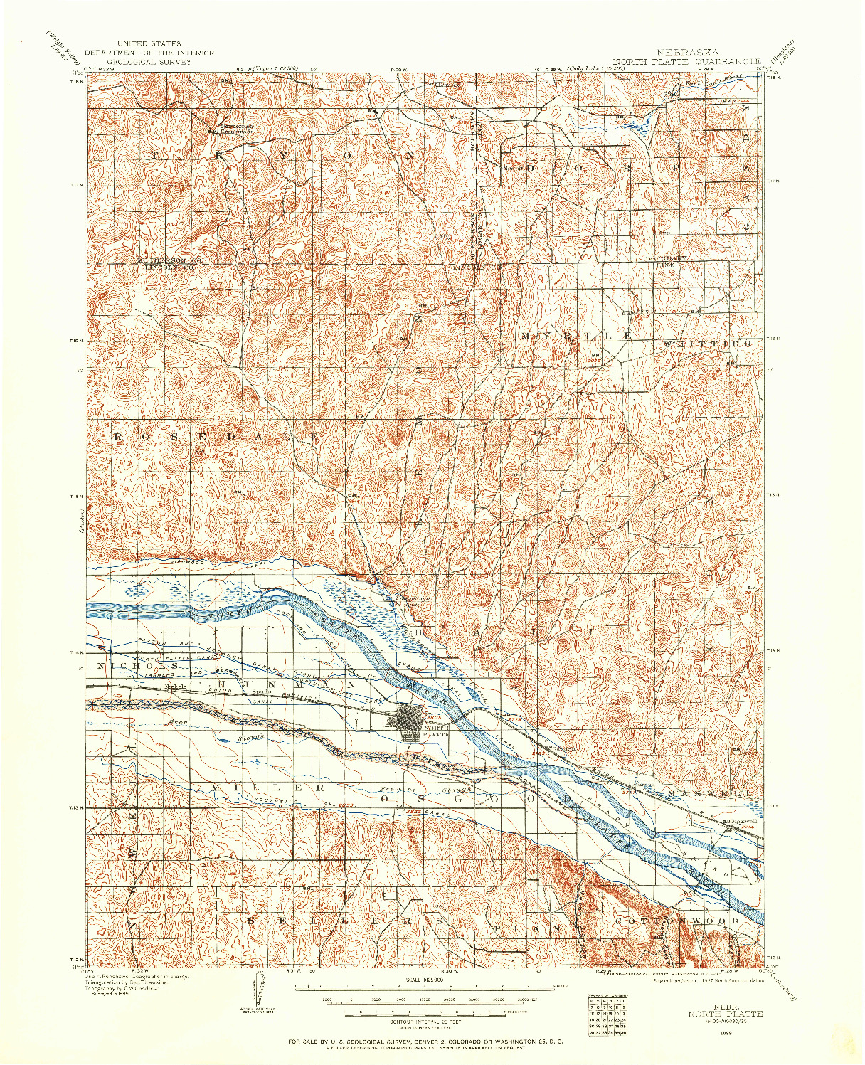USGS 1:125000-SCALE QUADRANGLE FOR NORTH PLATTE, NE 1899
