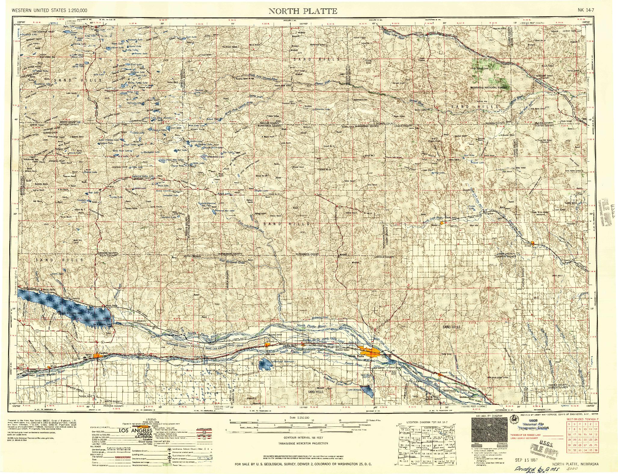 USGS 1:250000-SCALE QUADRANGLE FOR NORTH PLATTE, NE 1957