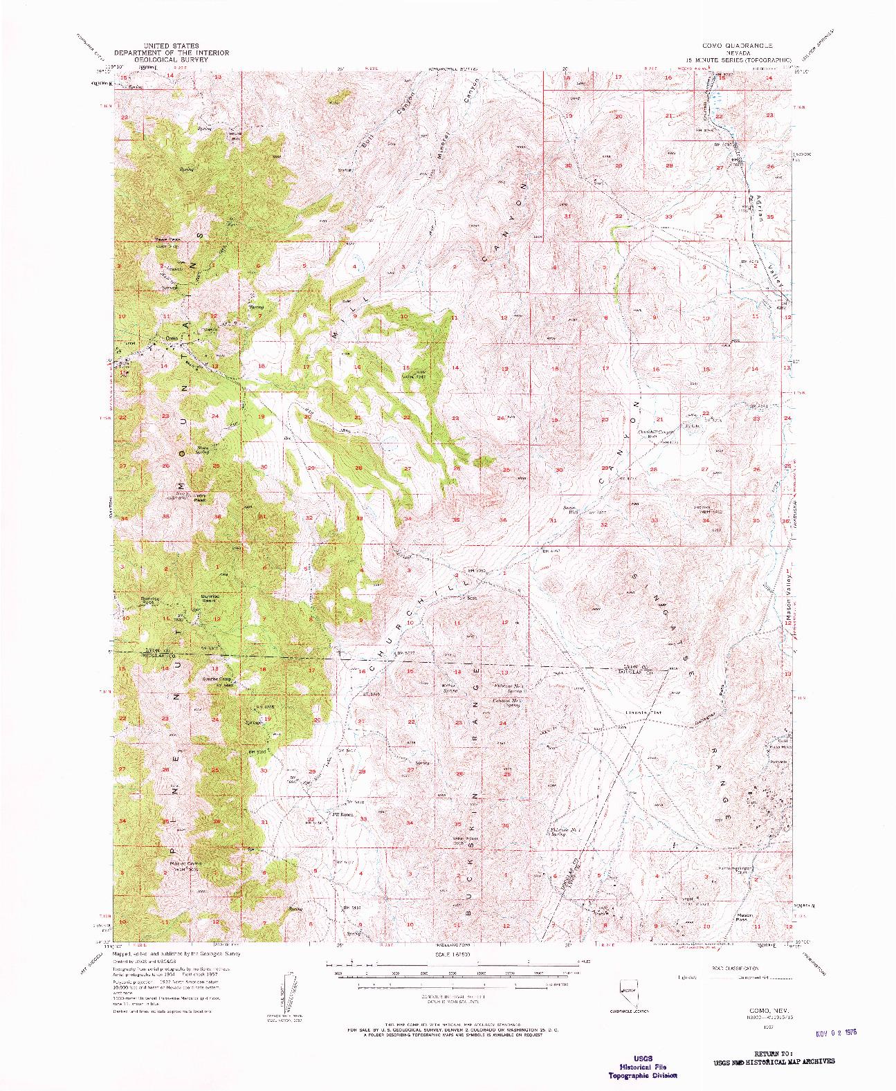 USGS 1:62500-SCALE QUADRANGLE FOR COMO, NV 1957