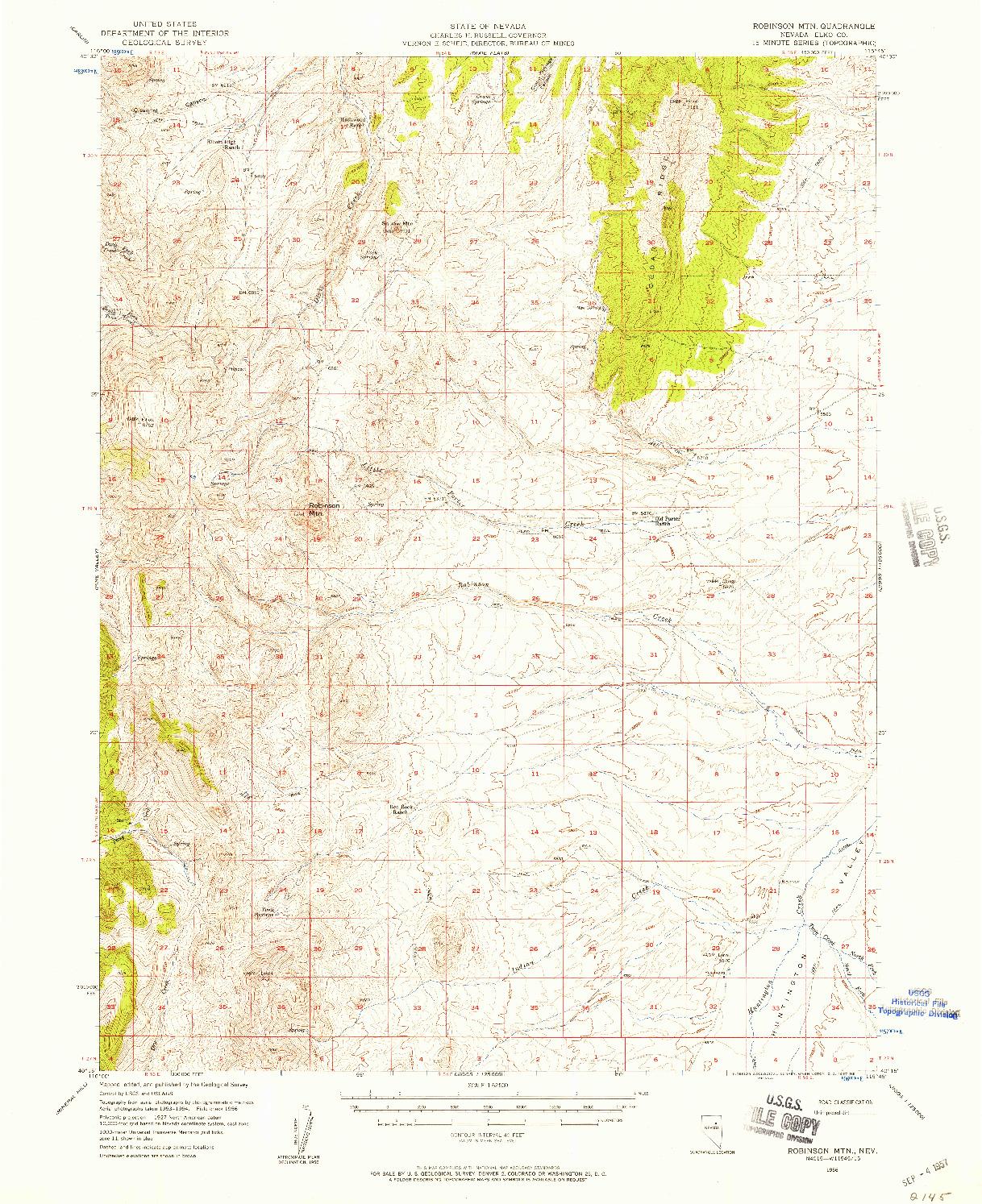 USGS 1:62500-SCALE QUADRANGLE FOR ROBINSON MTN, NV 1956
