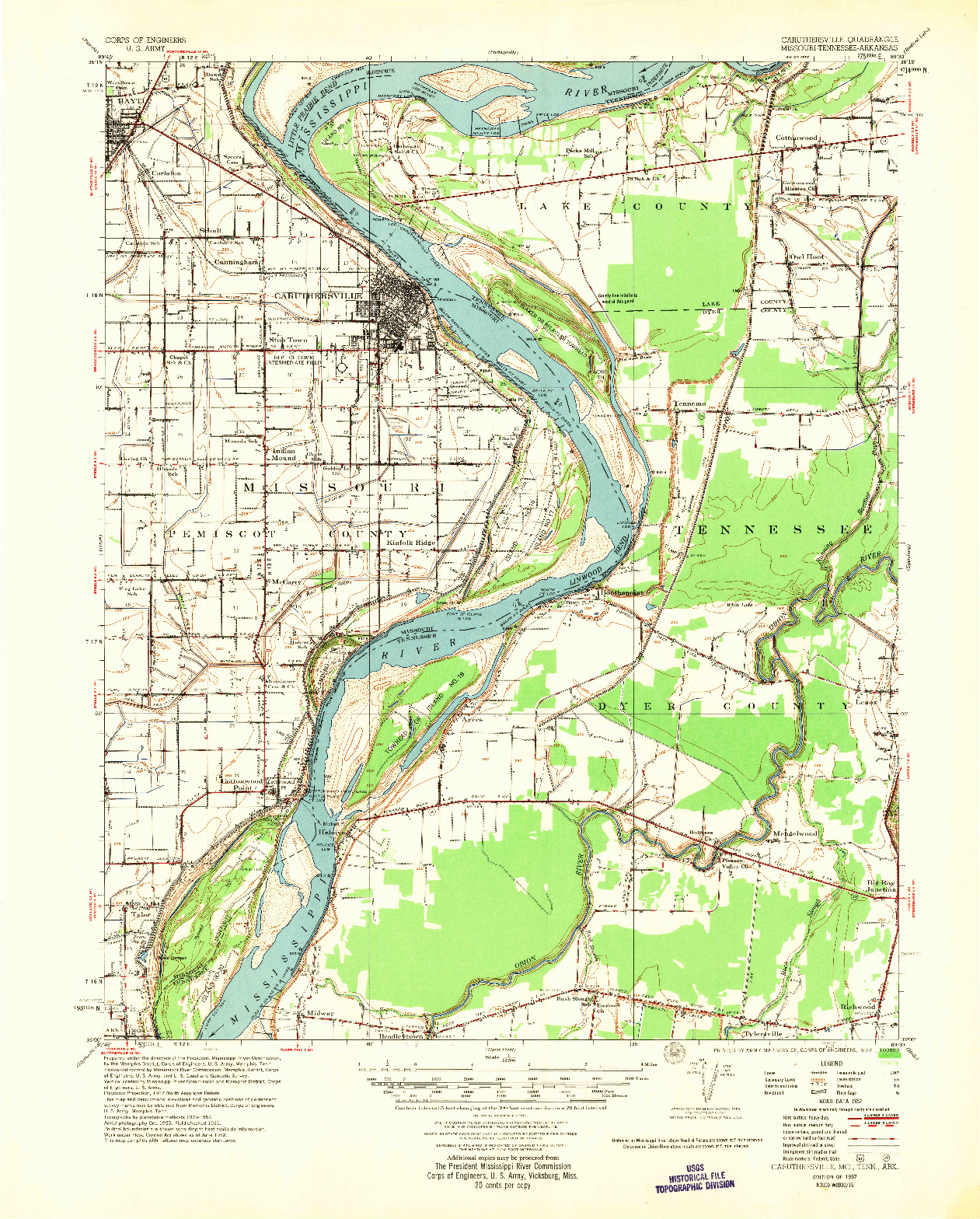 USGS 1:62500-SCALE QUADRANGLE FOR CARUTHERSVILLE, MO 1957