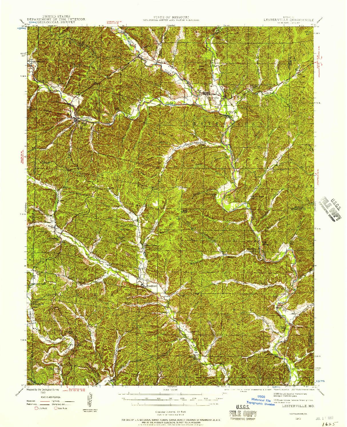USGS 1:62500-SCALE QUADRANGLE FOR LESTERVILLE, MO 1943