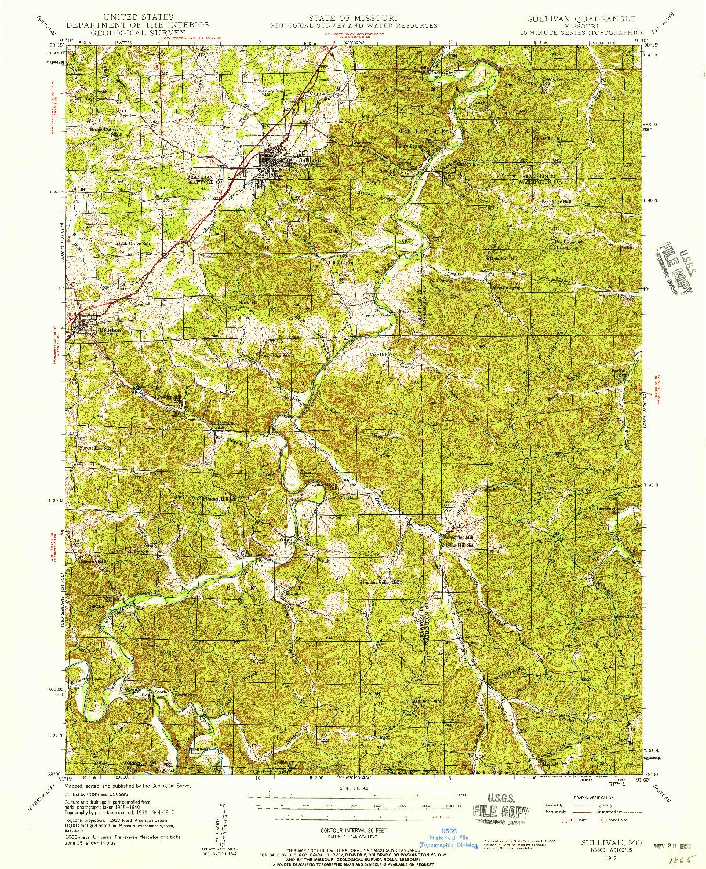 USGS 1:62500-SCALE QUADRANGLE FOR SULLIVAN, MO 1947