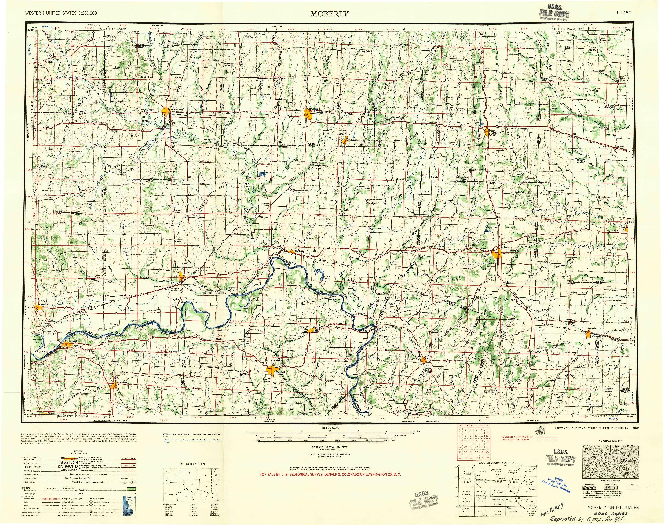 USGS 1:250000-SCALE QUADRANGLE FOR MOBERLY, MO 1957