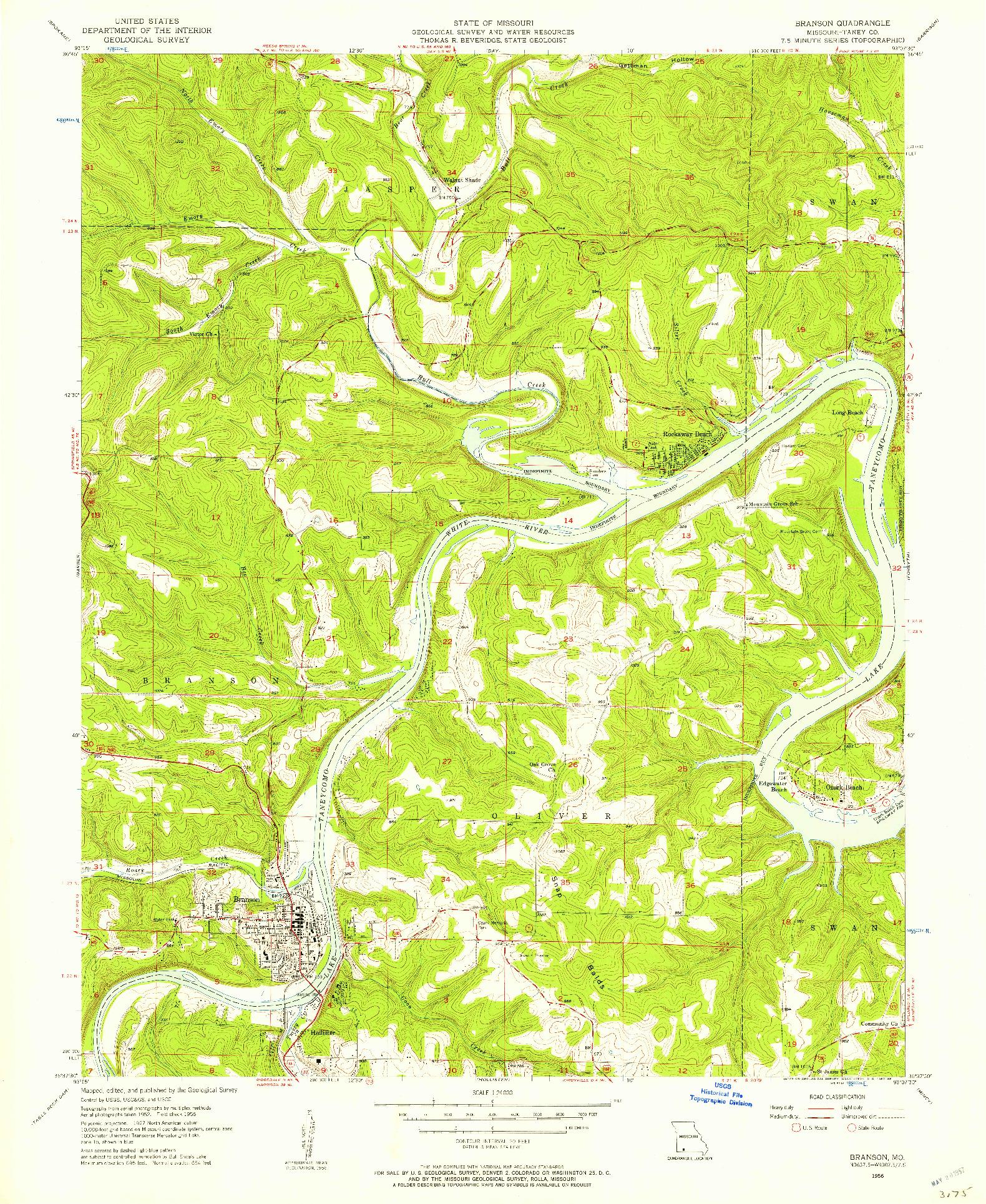 USGS 1:24000-SCALE QUADRANGLE FOR BRANSON, MO 1956
