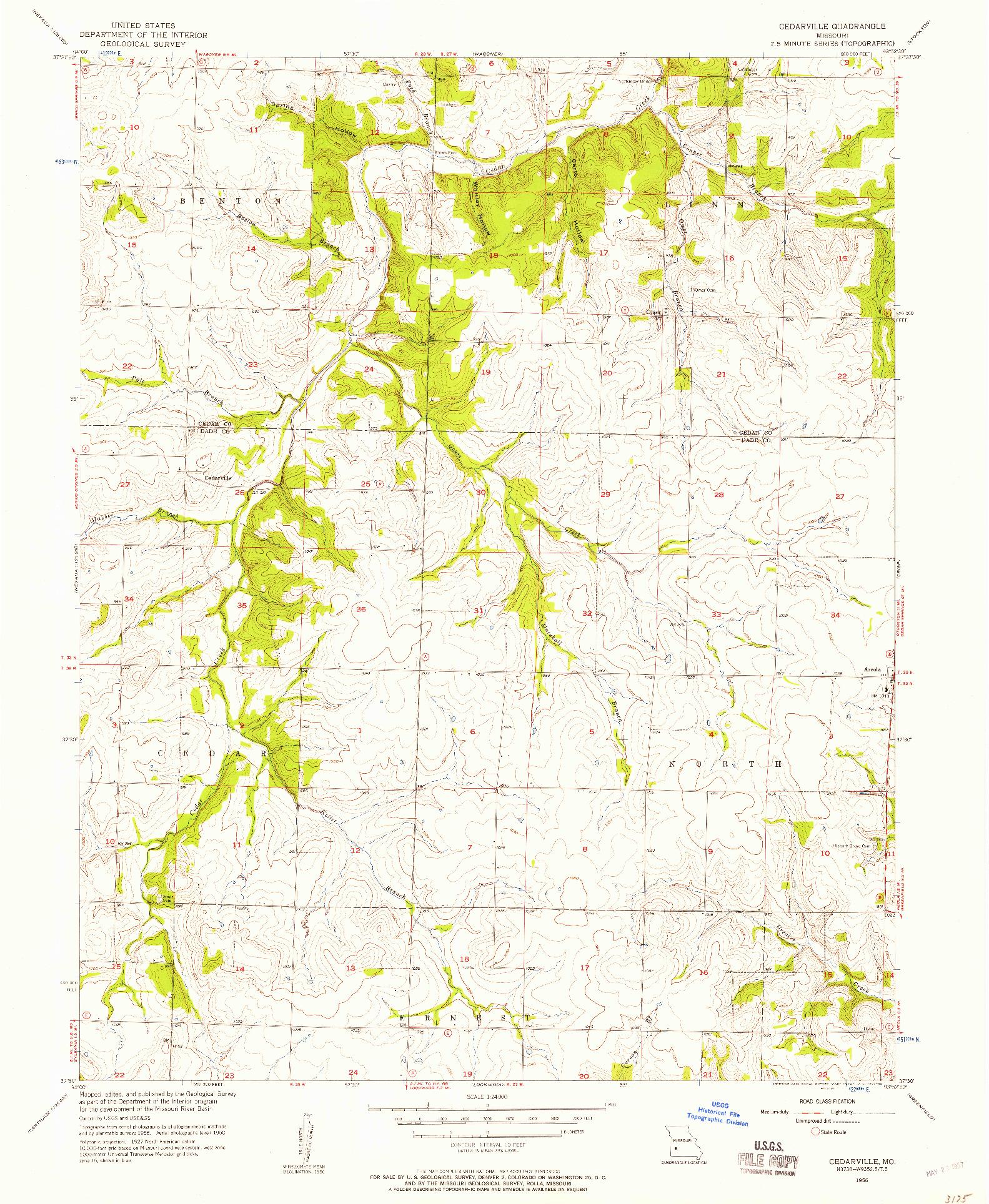 USGS 1:24000-SCALE QUADRANGLE FOR CEDARVILLE, MO 1956