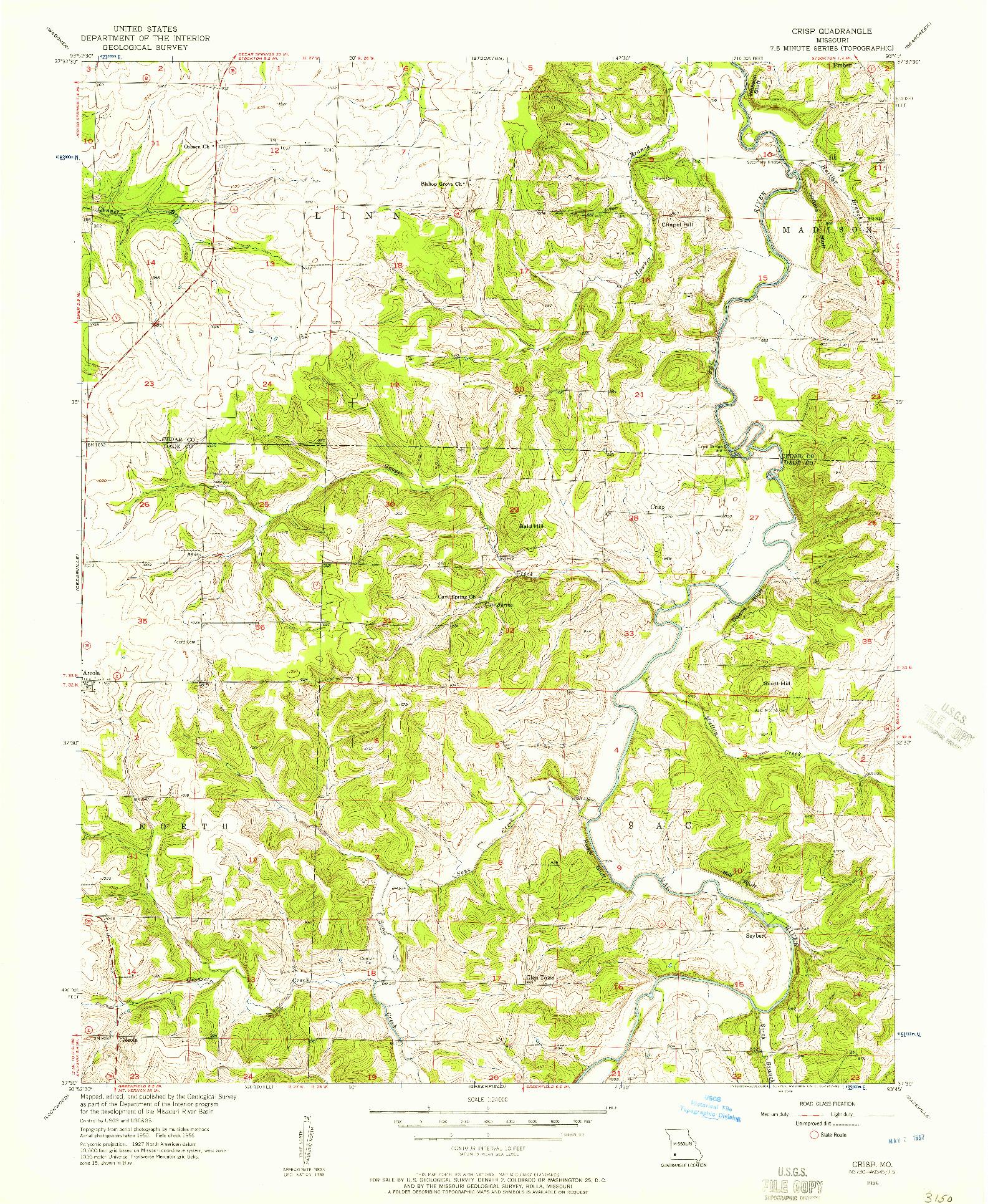 USGS 1:24000-SCALE QUADRANGLE FOR CRISP, MO 1956
