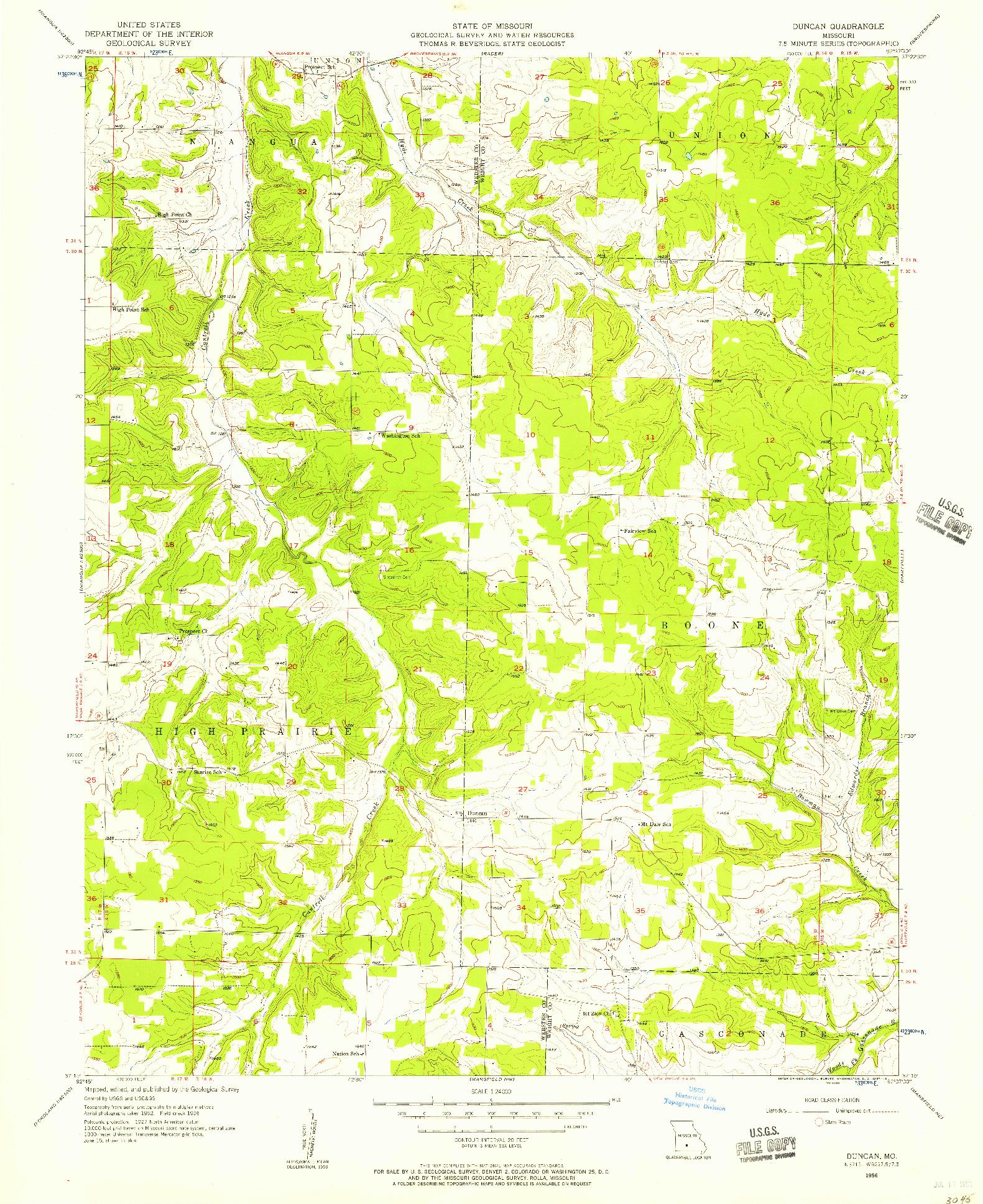 USGS 1:24000-SCALE QUADRANGLE FOR DUNCAN, MO 1956