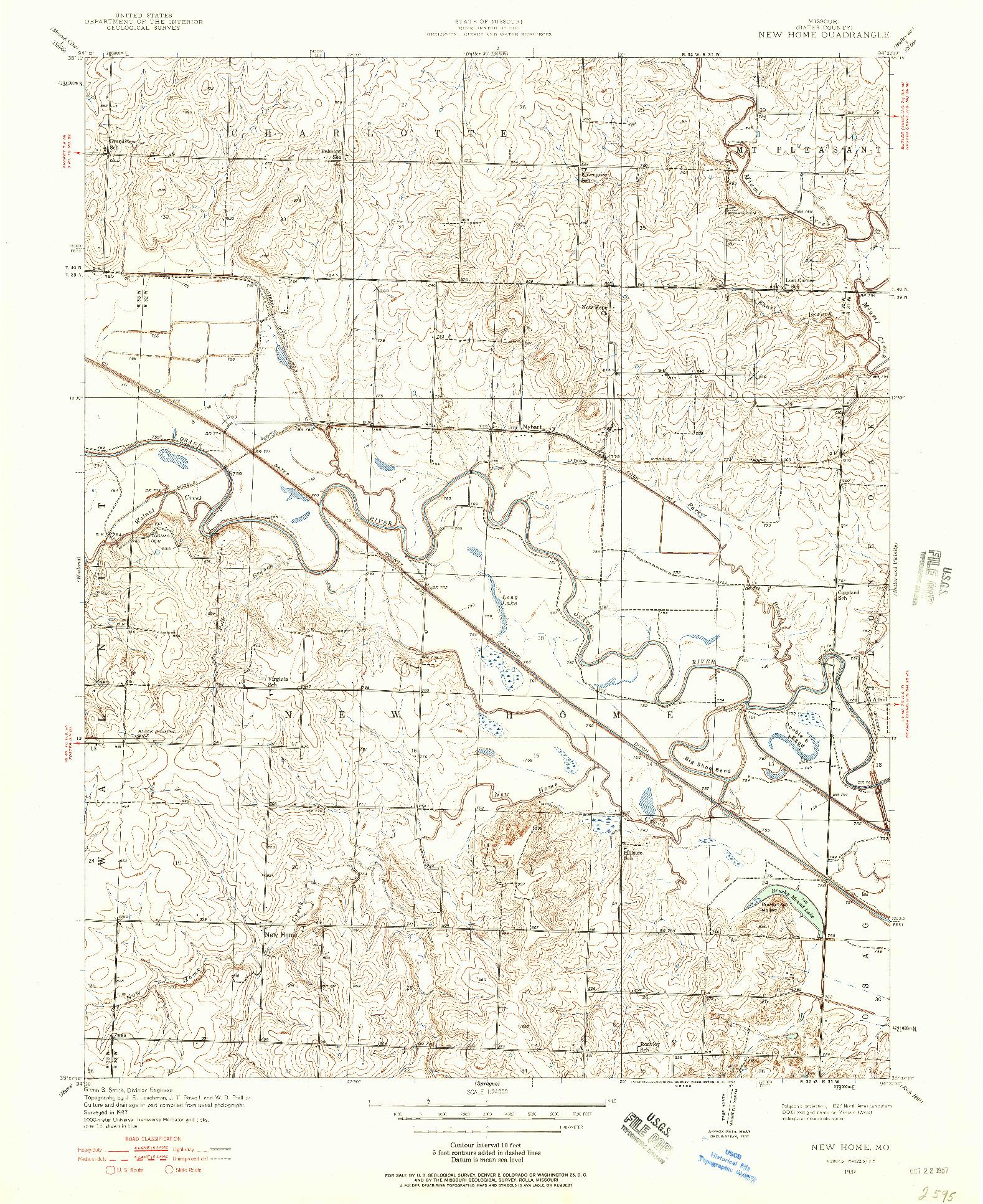 USGS 1:24000-SCALE QUADRANGLE FOR NEW HOME, MO 1937