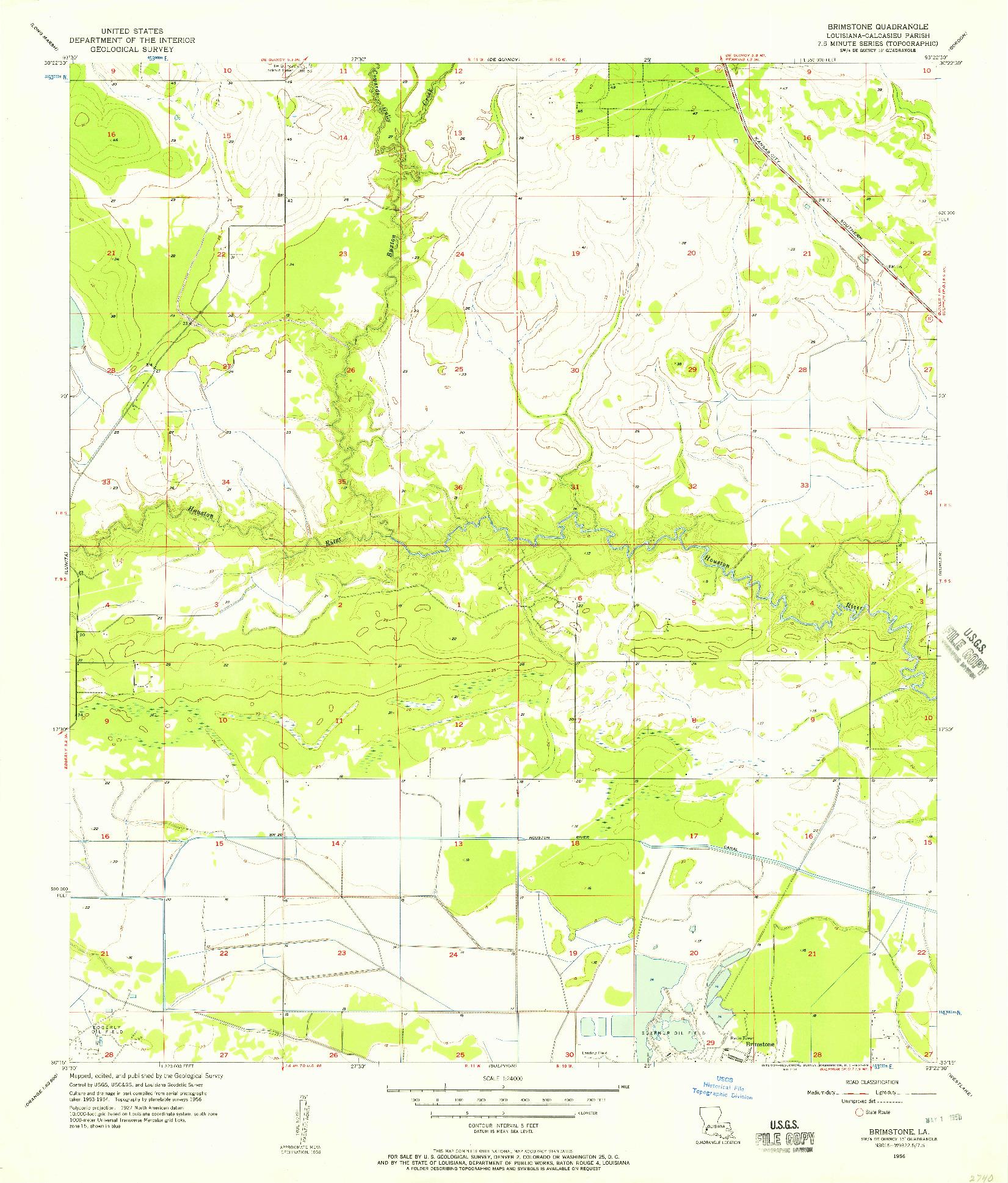 USGS 1:24000-SCALE QUADRANGLE FOR BRIMSTONE, LA 1956