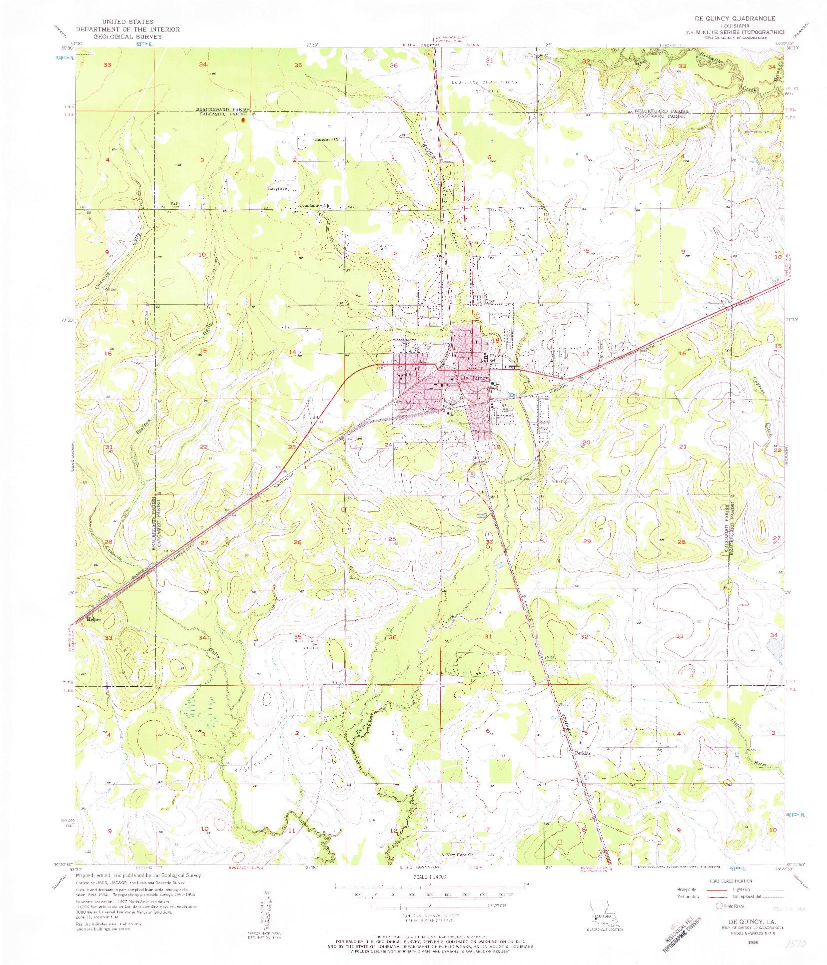 USGS 1:24000-SCALE QUADRANGLE FOR DE QUINCY, LA 1956
