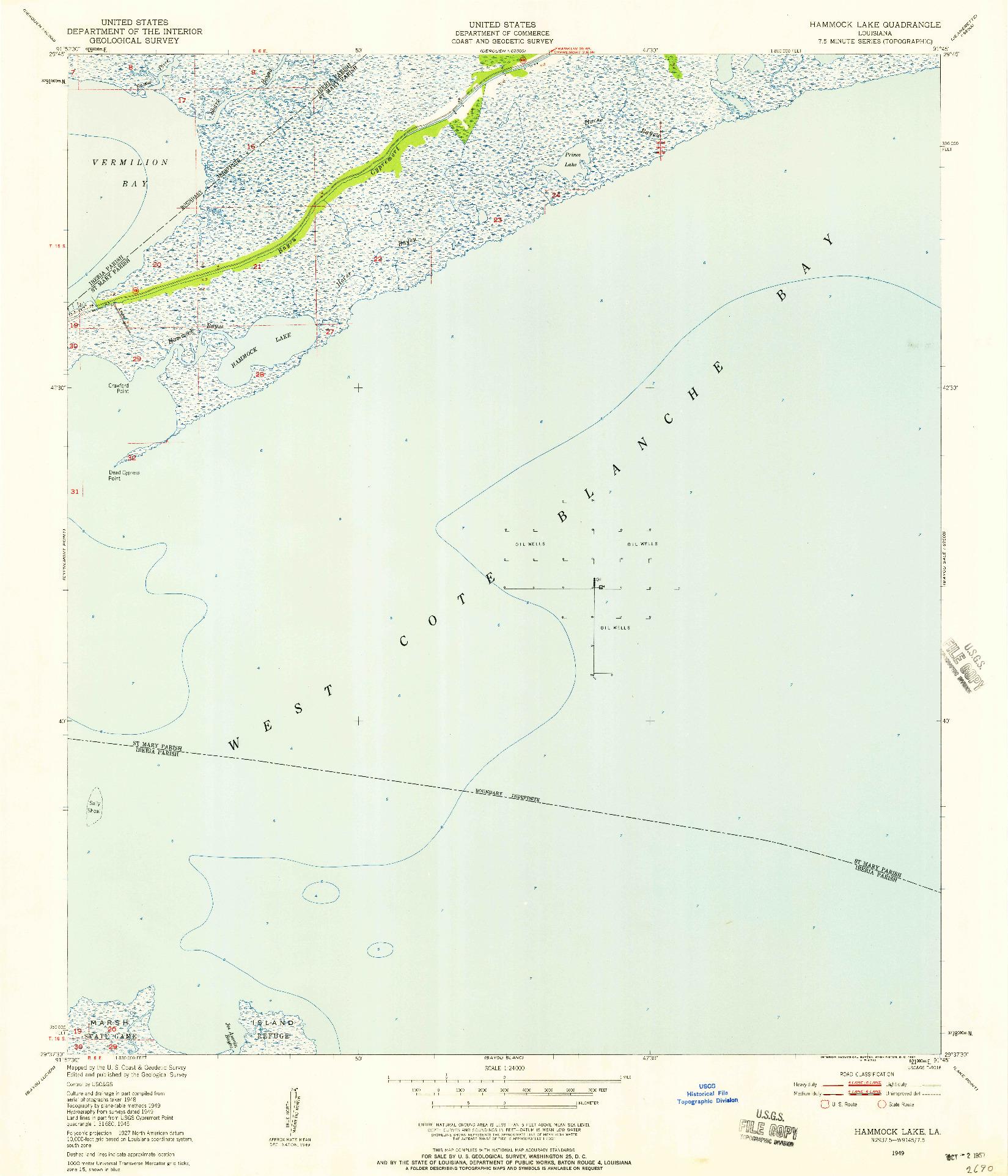 USGS 1:24000-SCALE QUADRANGLE FOR HAMMOCK LAKE, LA 1949