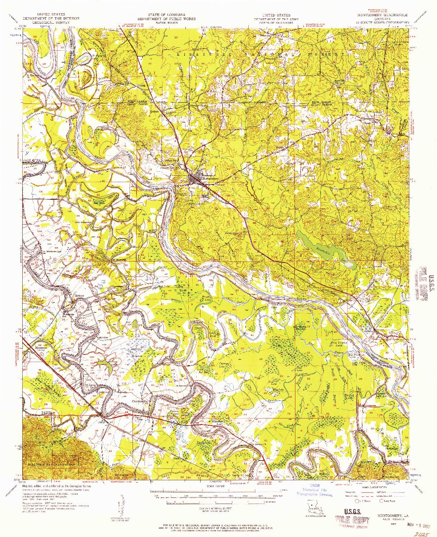 USGS 1:62500-SCALE QUADRANGLE FOR MONTGOMERY, LA 1957