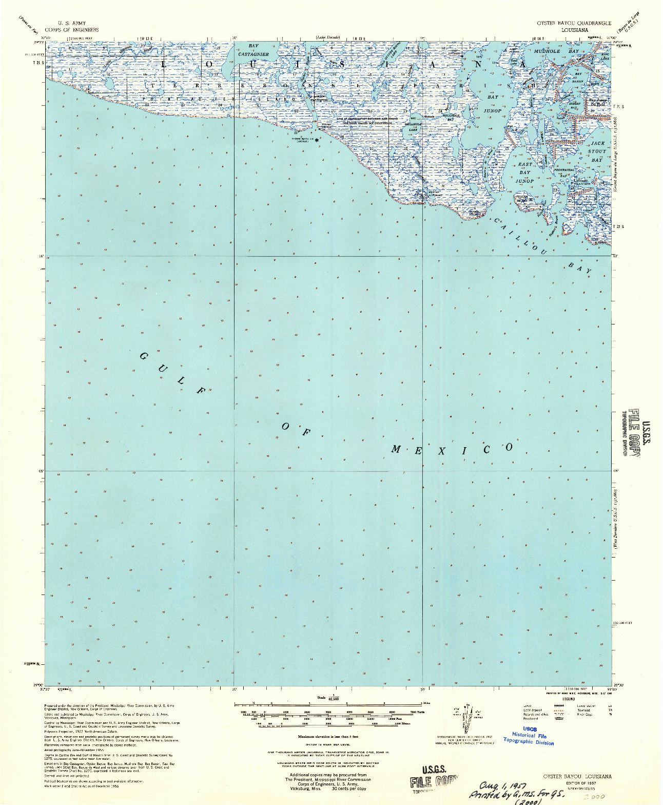USGS 1:62500-SCALE QUADRANGLE FOR OYSTER BAYOU, LA 1957