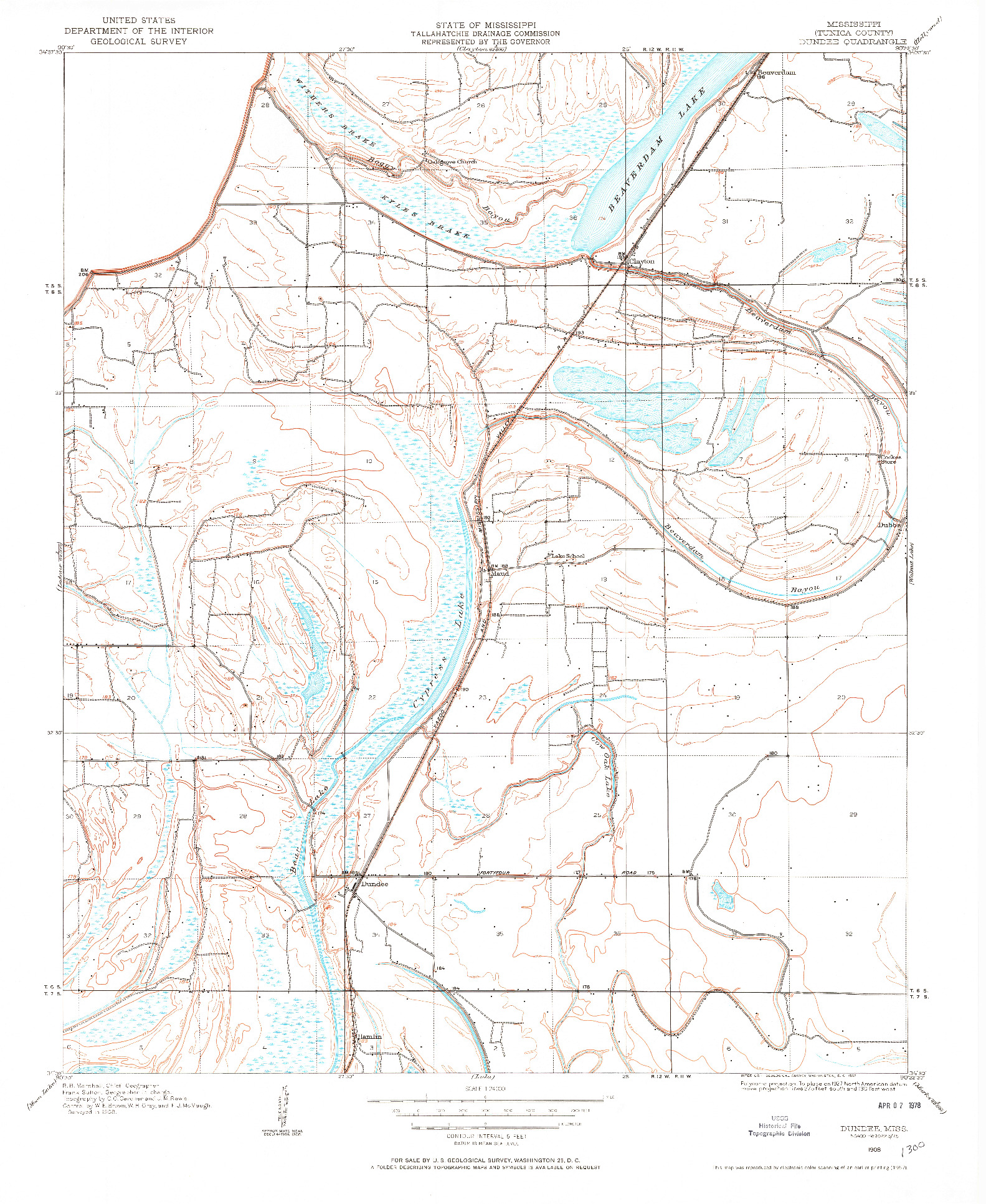 USGS 1:24000-SCALE QUADRANGLE FOR DUNDEE, MS 1908