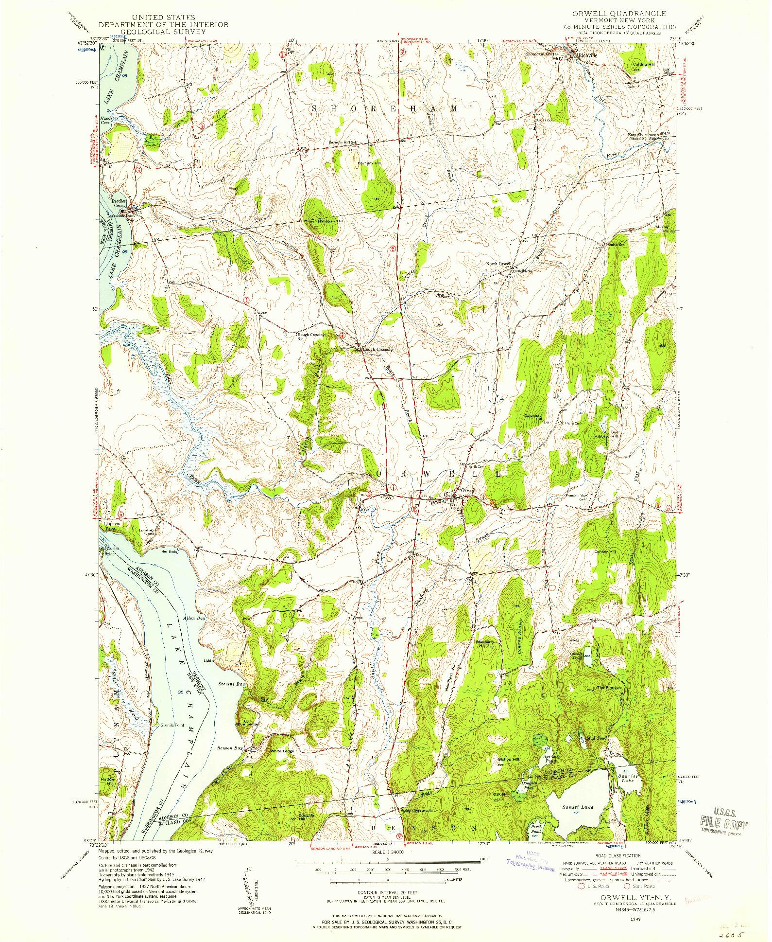 USGS 1:24000-SCALE QUADRANGLE FOR ORWELL, VT 1949