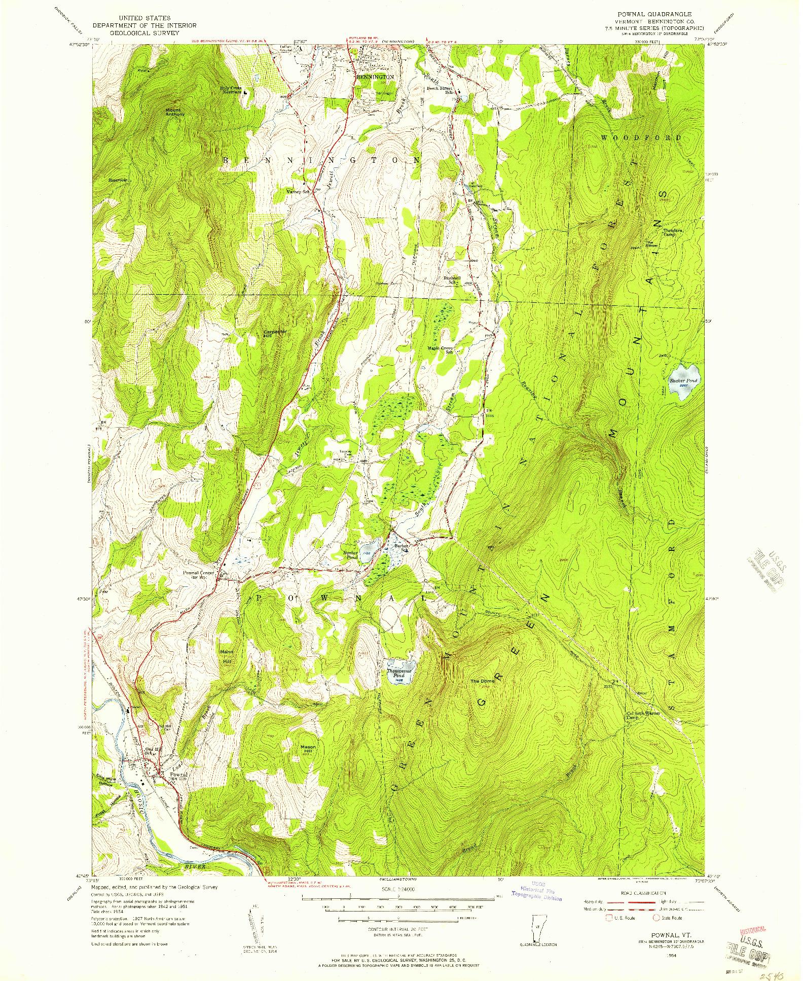 USGS 1:24000-SCALE QUADRANGLE FOR POWNAL, VT 1954