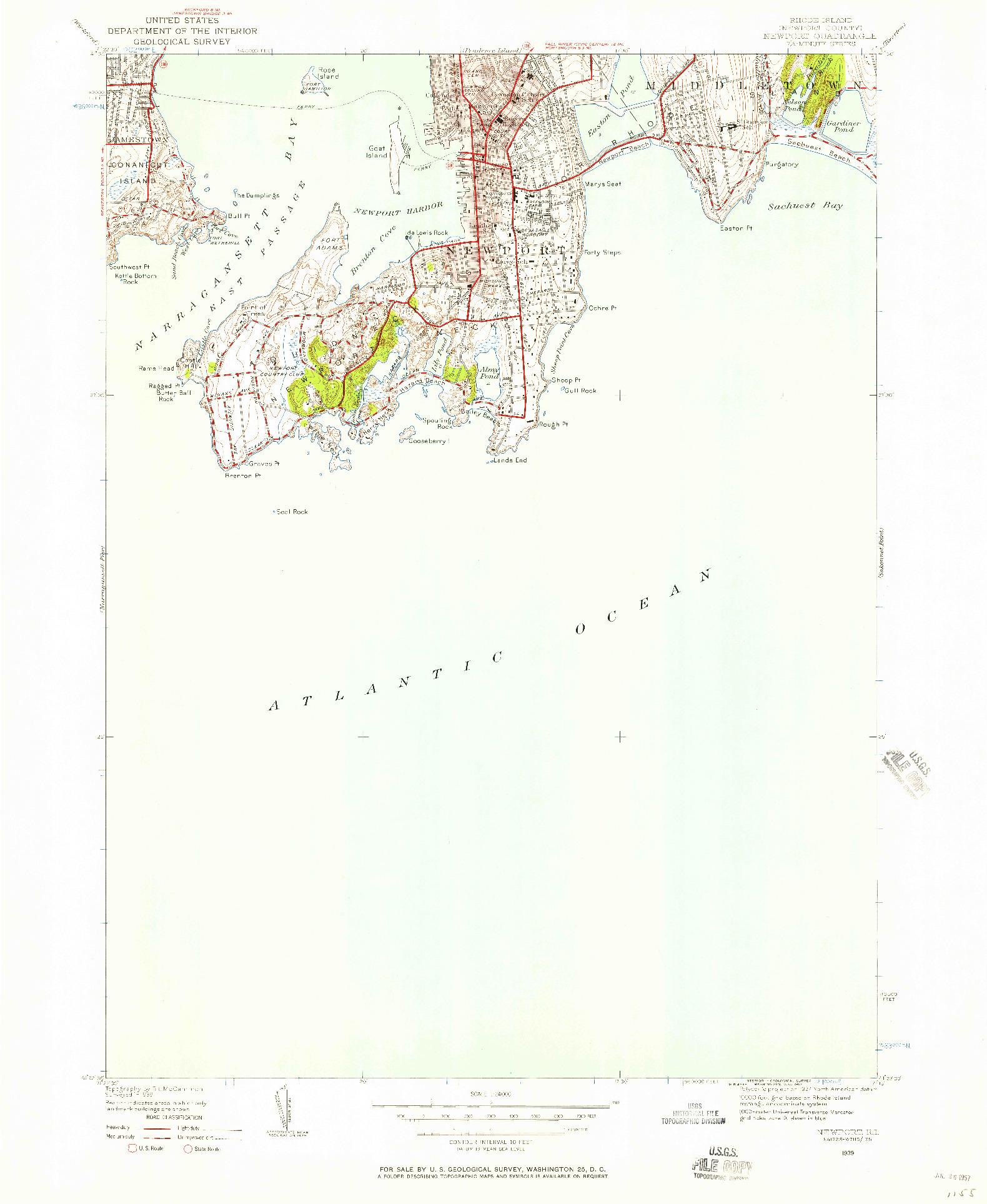 USGS 1:24000-SCALE QUADRANGLE FOR NEWPORT, RI 1939