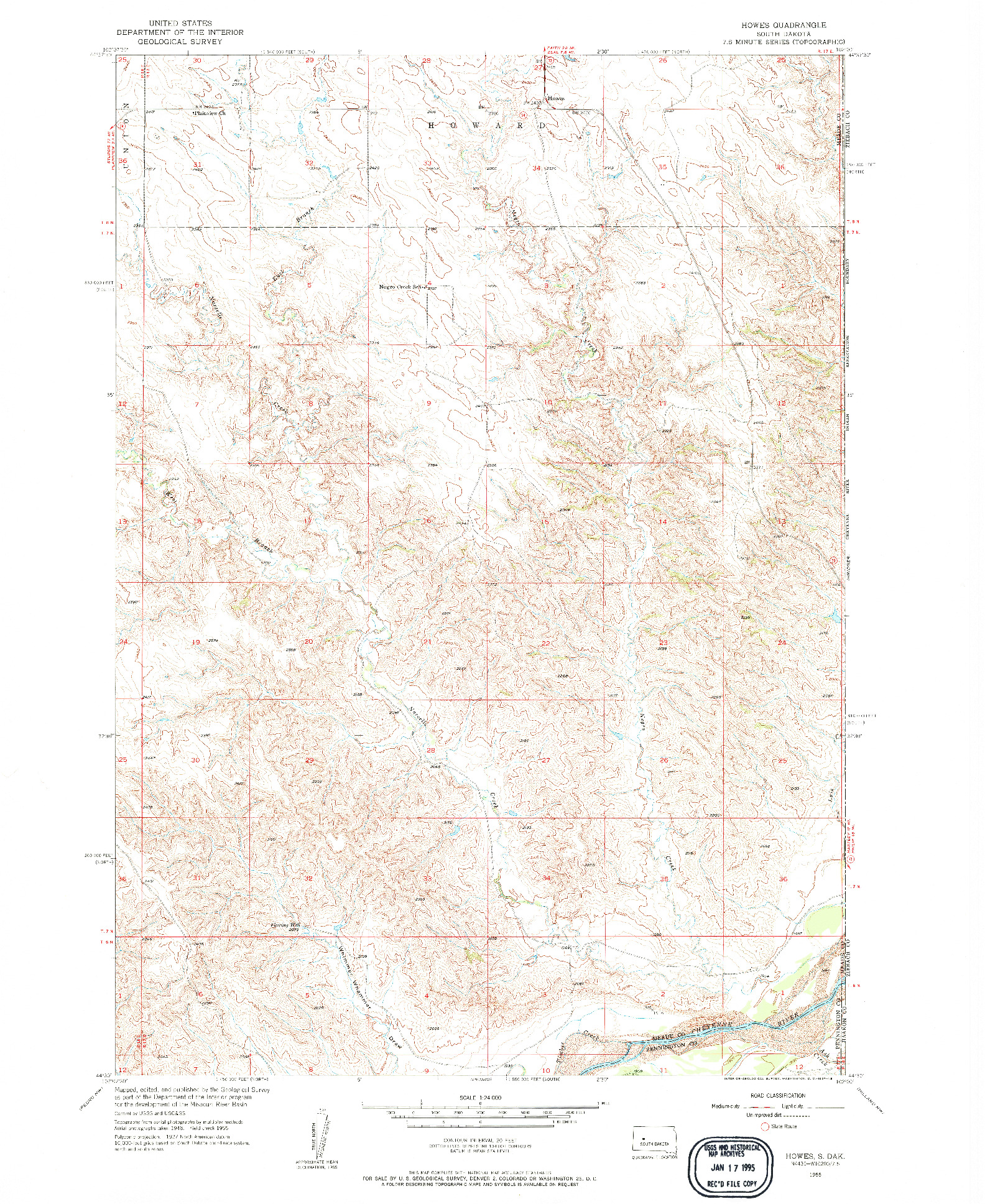 USGS 1:24000-SCALE QUADRANGLE FOR HOWES, SD 1955