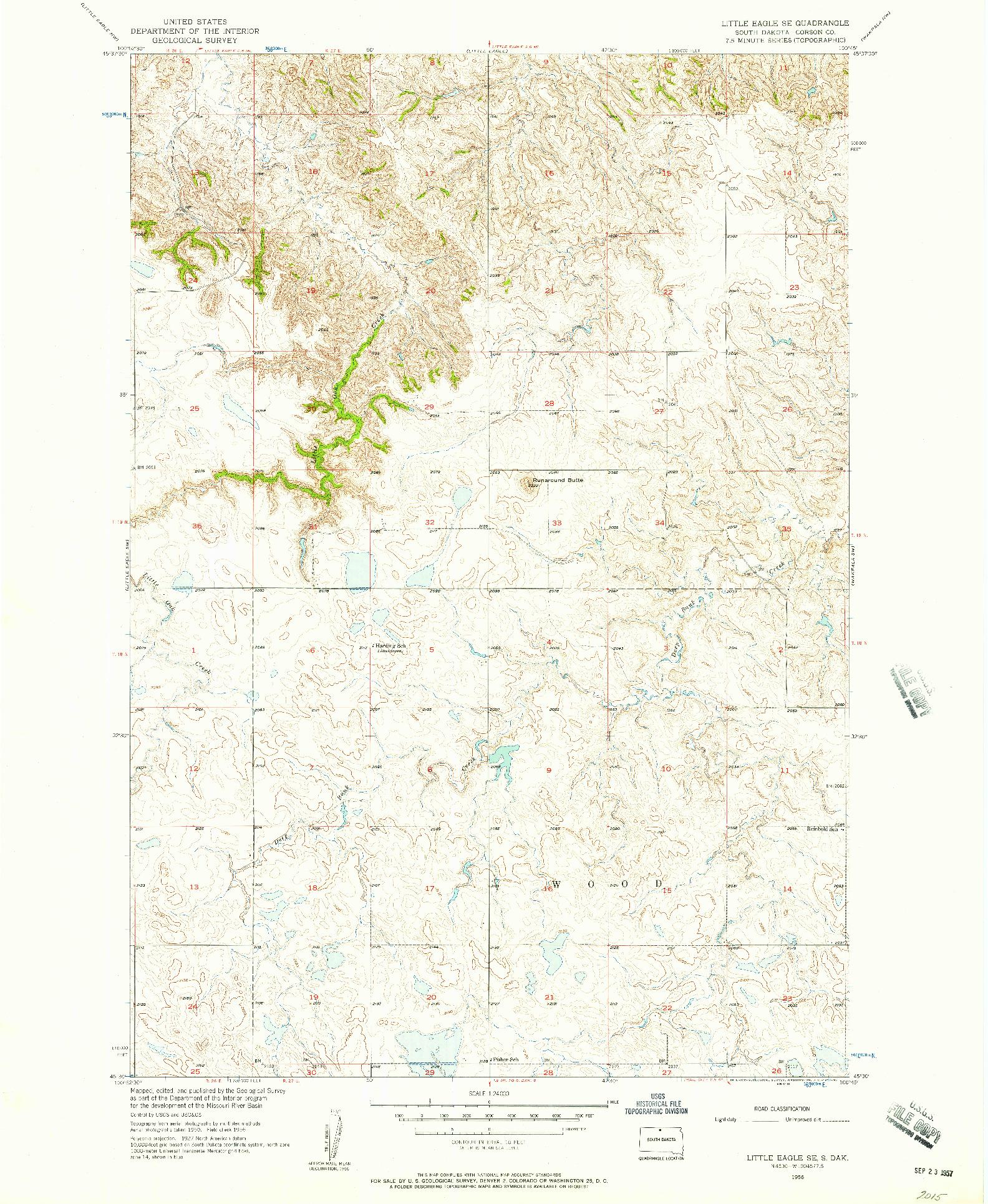 USGS 1:24000-SCALE QUADRANGLE FOR LITTLE EAGLE SE, SD 1956