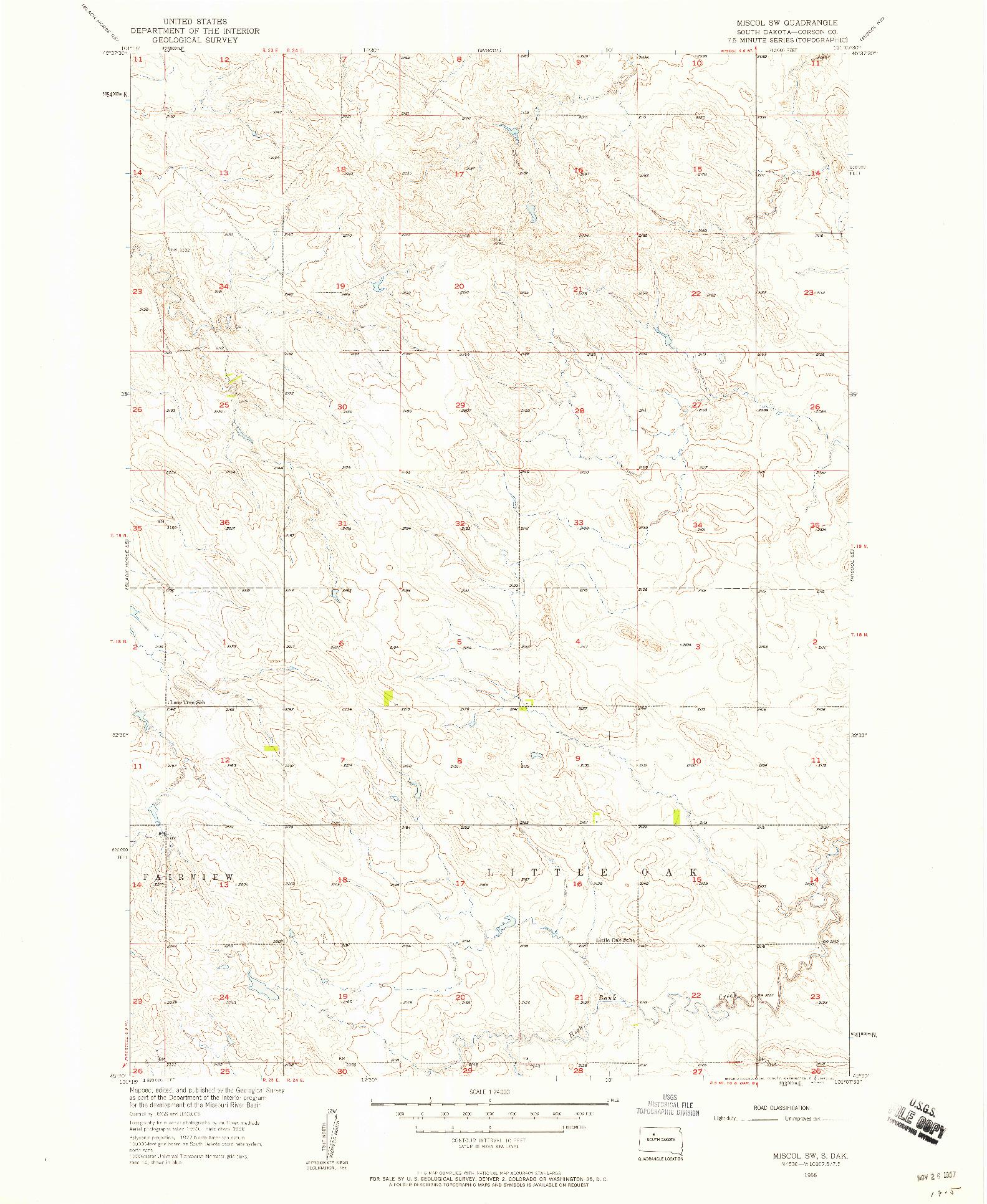 USGS 1:24000-SCALE QUADRANGLE FOR MISCOL SW, SD 1956