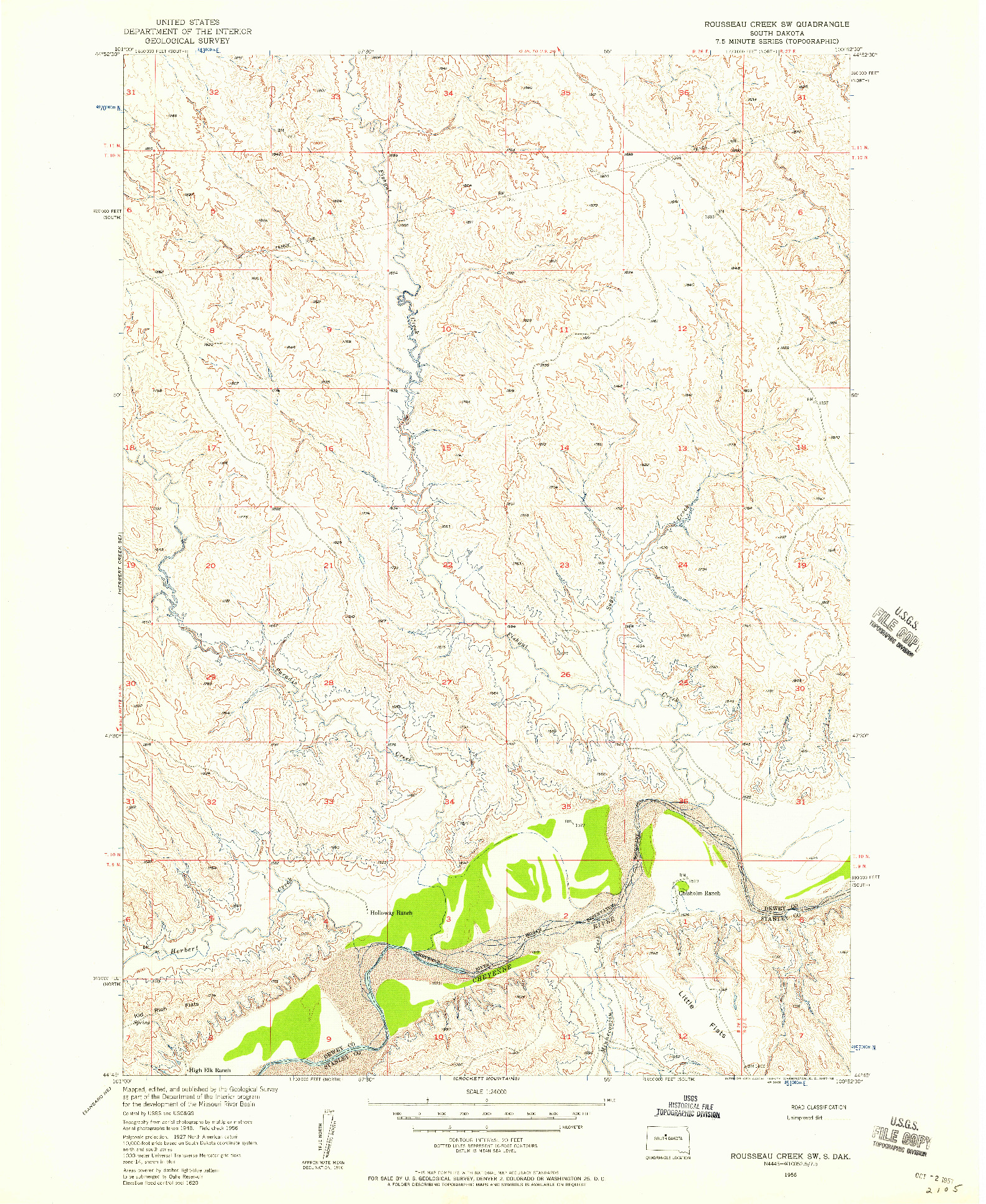 USGS 1:24000-SCALE QUADRANGLE FOR ROUSSEAU CREEK SW, SD 1956